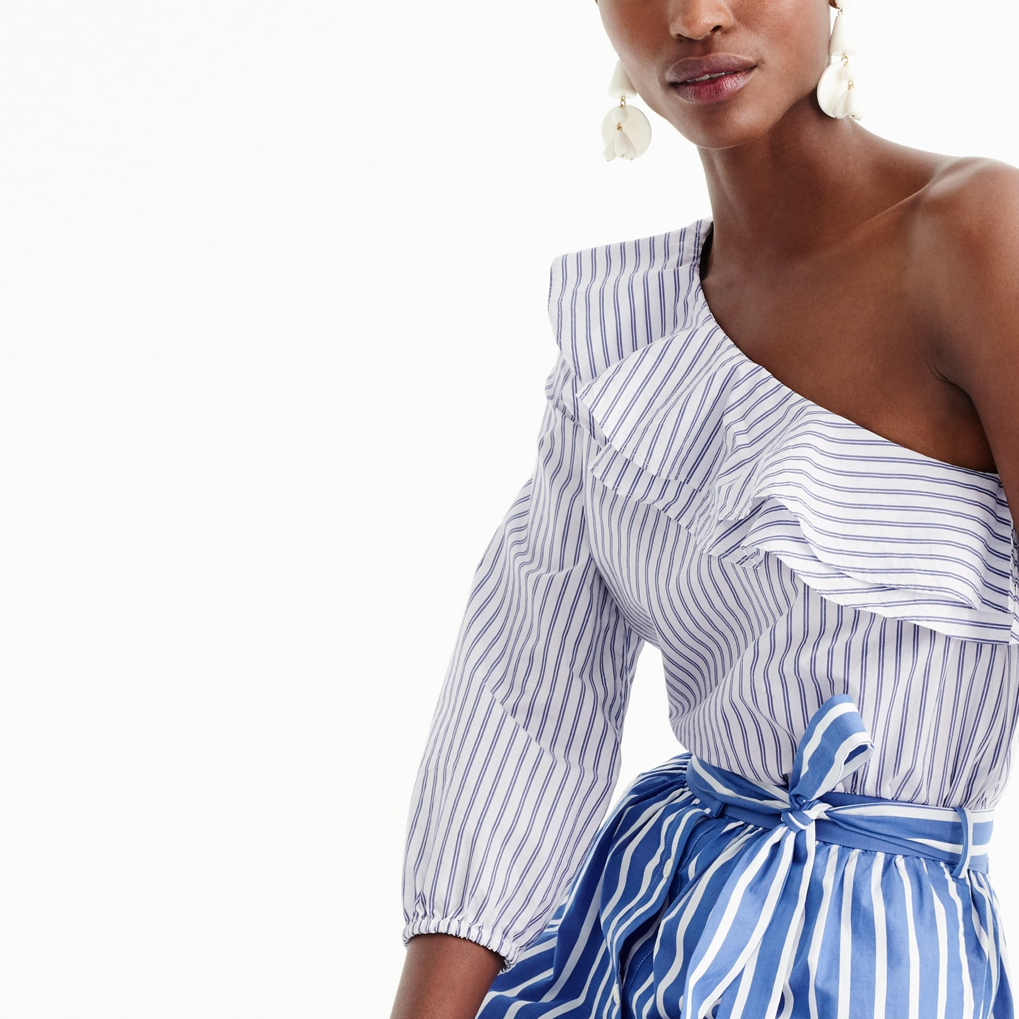 Image 2 for Striped one-shoulder ruffle top