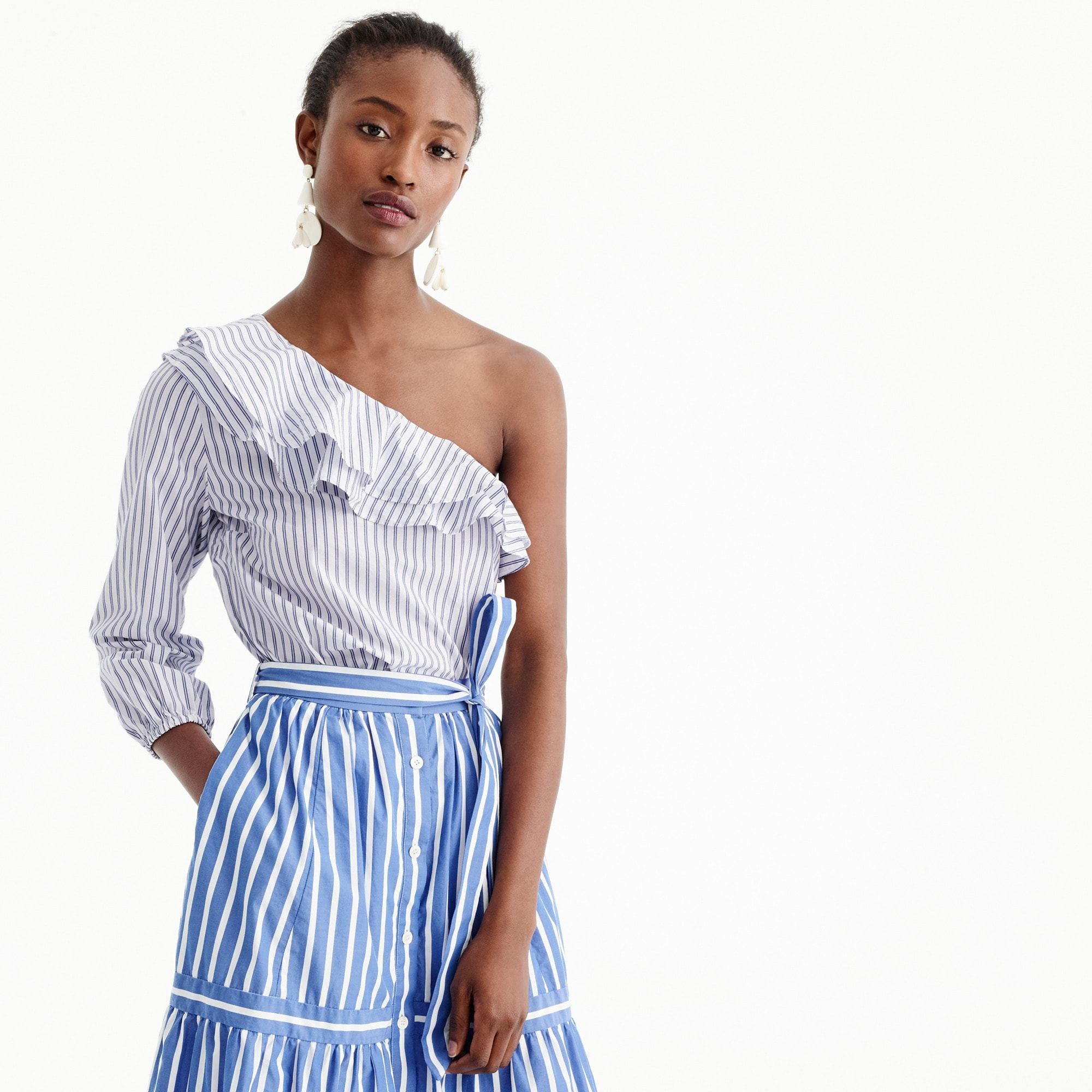 Striped one-shoulder ruffle top