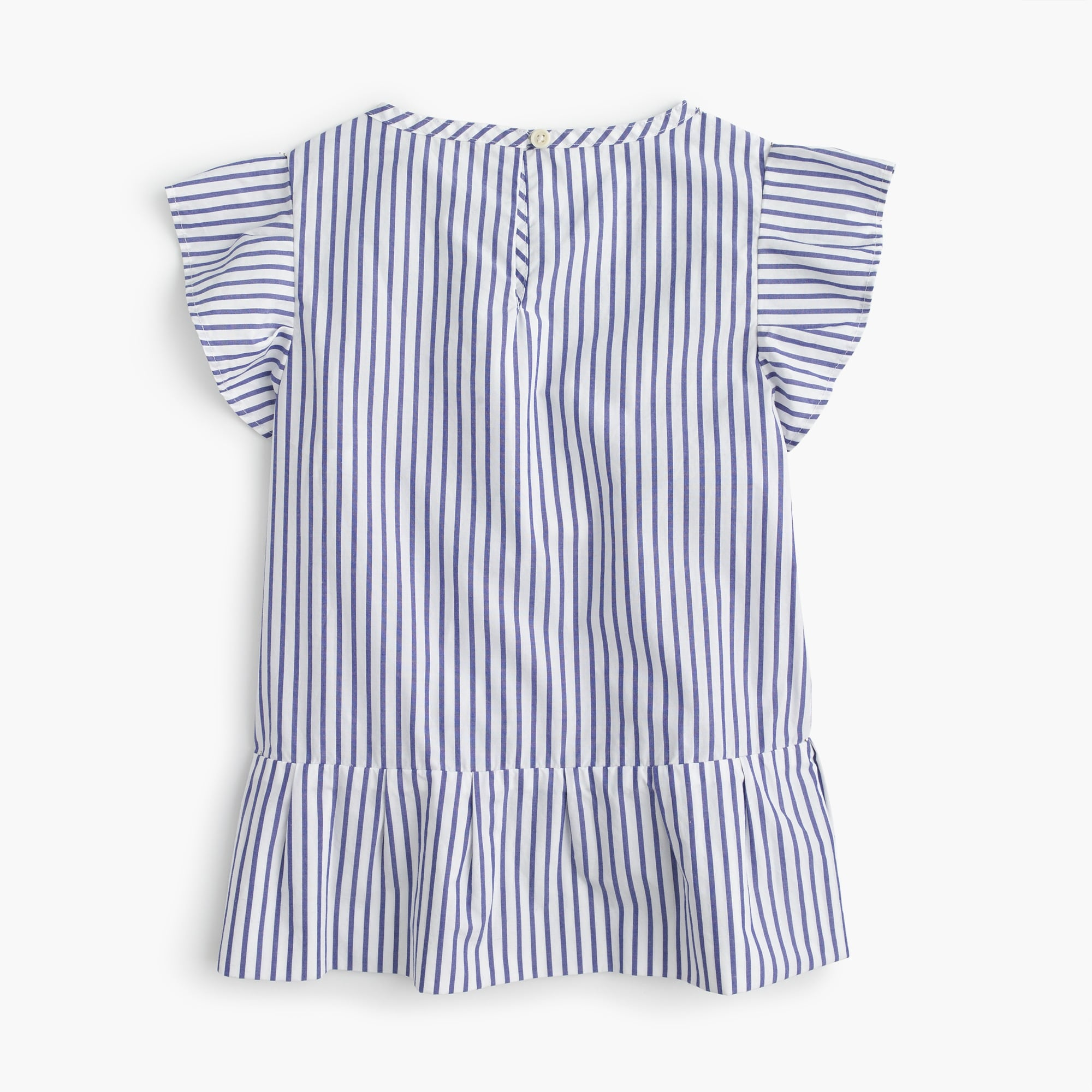 Girls' striped ruffle-hem shirt