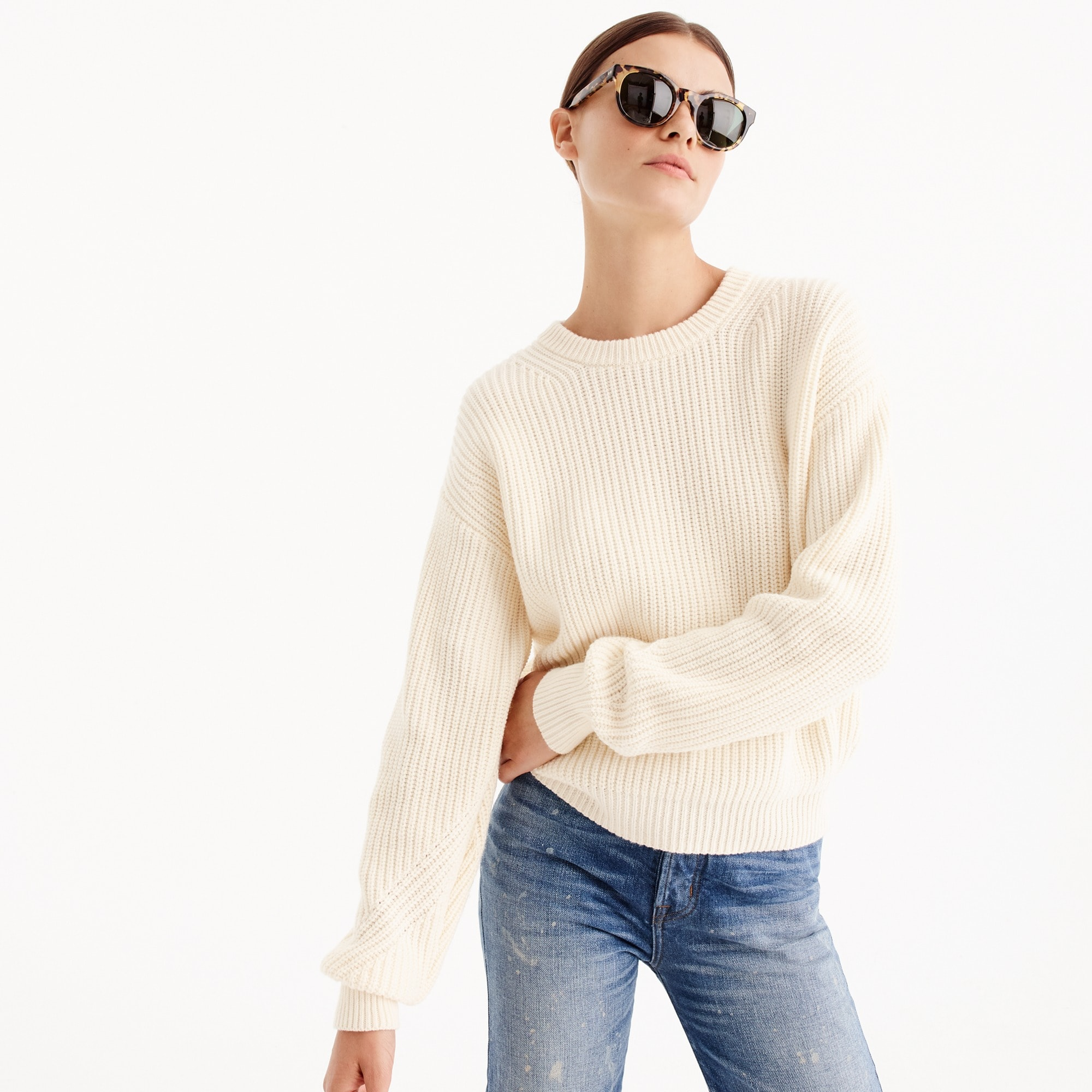 Oversized drop-shoulder sweater