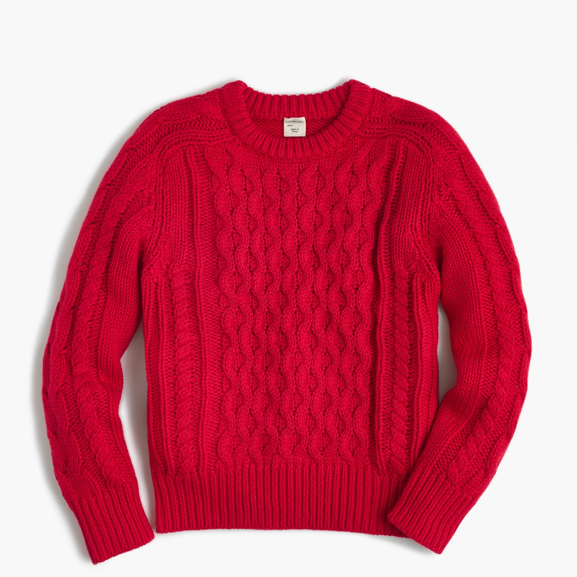 Kids' cable-knit crewneck sweater