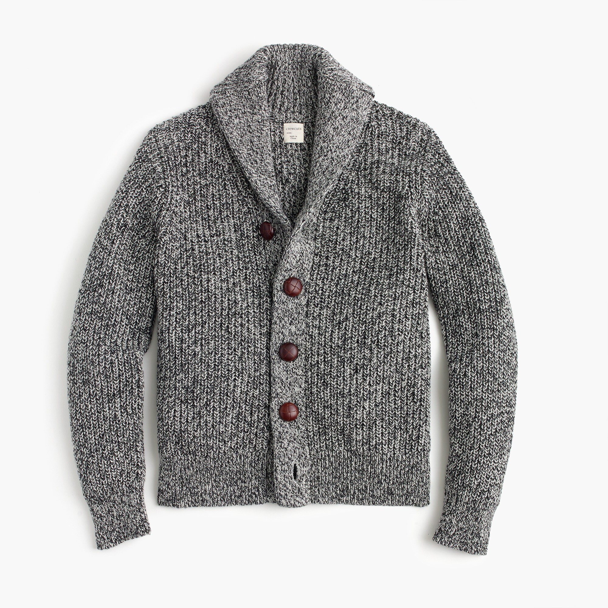 Boys' marled cotton shawl-collar cardigan sweater