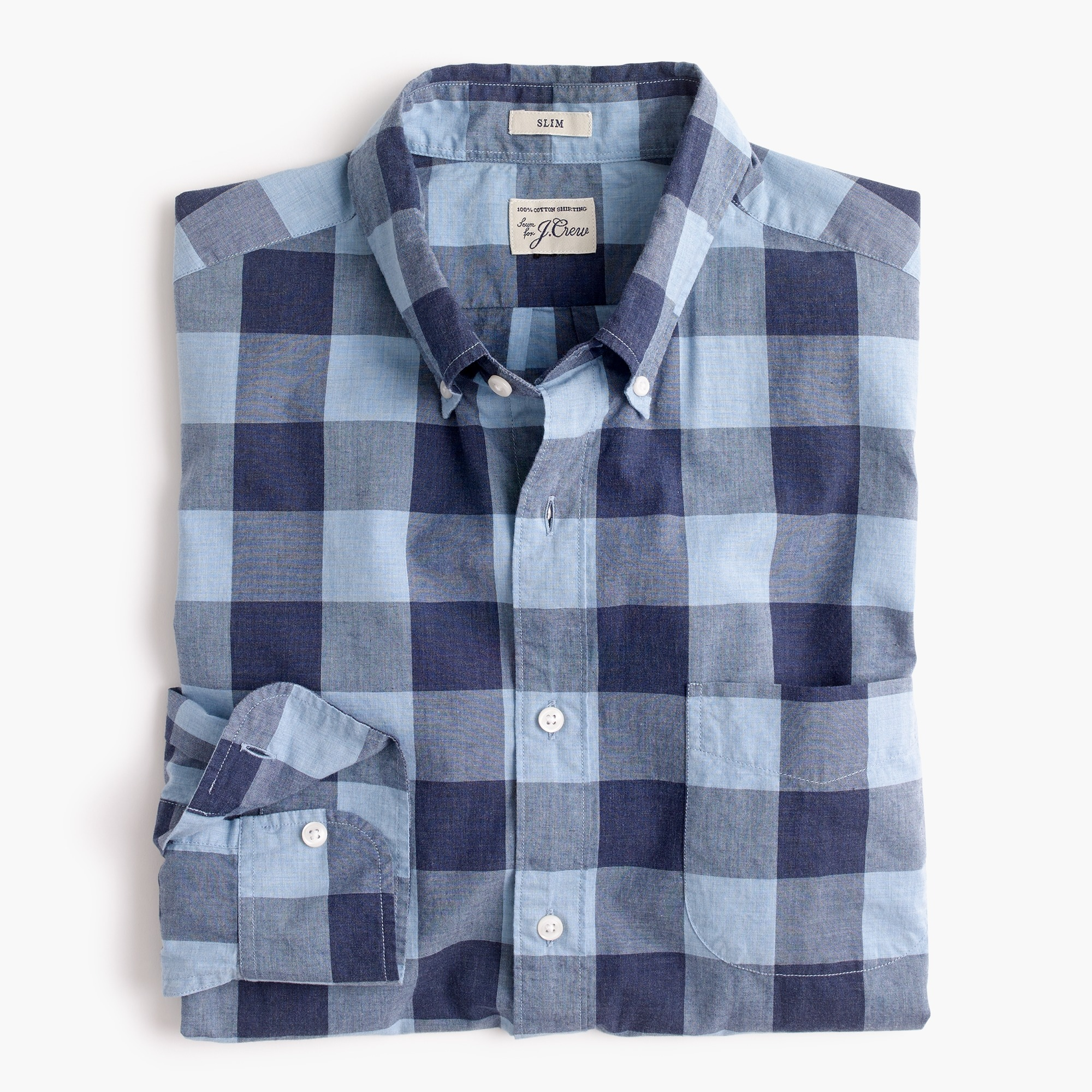 Secret Wash shirt in heather poplin seaside check