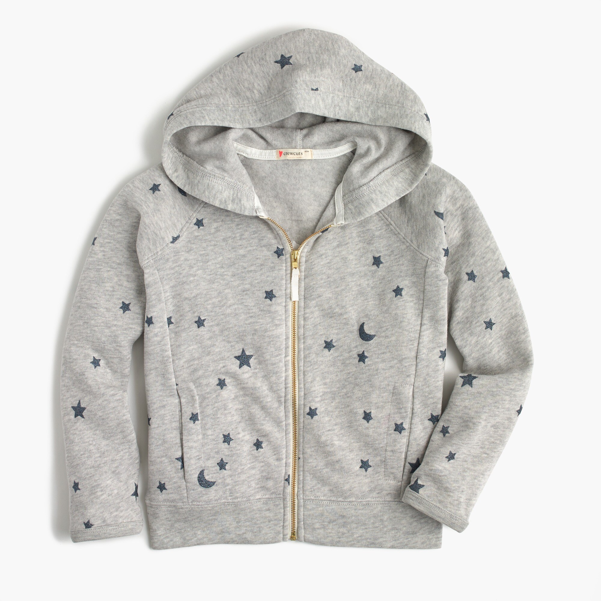 girls' full-zip hoodie in stars : girl sweatshirts
