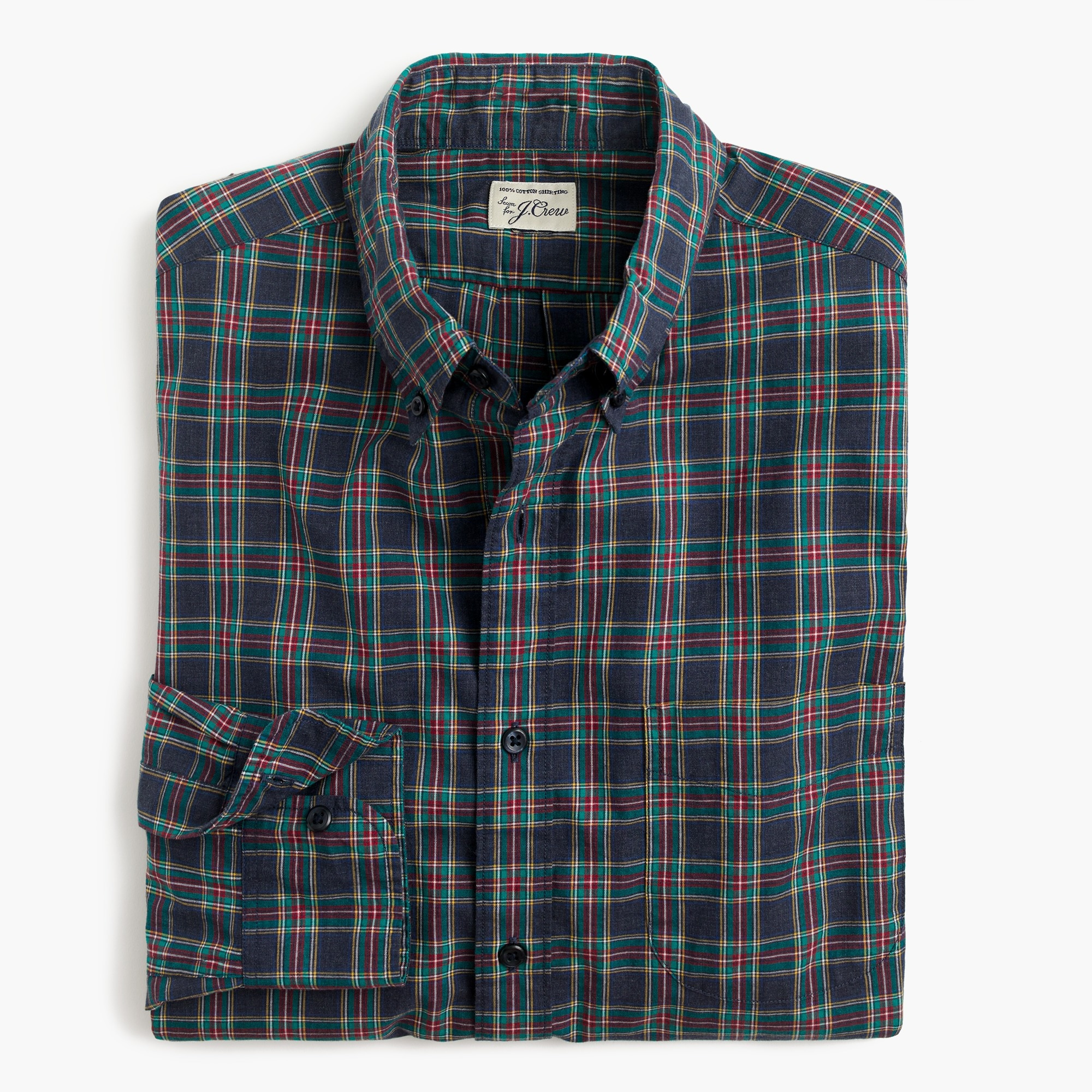 Image 3 for Slim Secret Wash shirt in heather poplin navy tartan