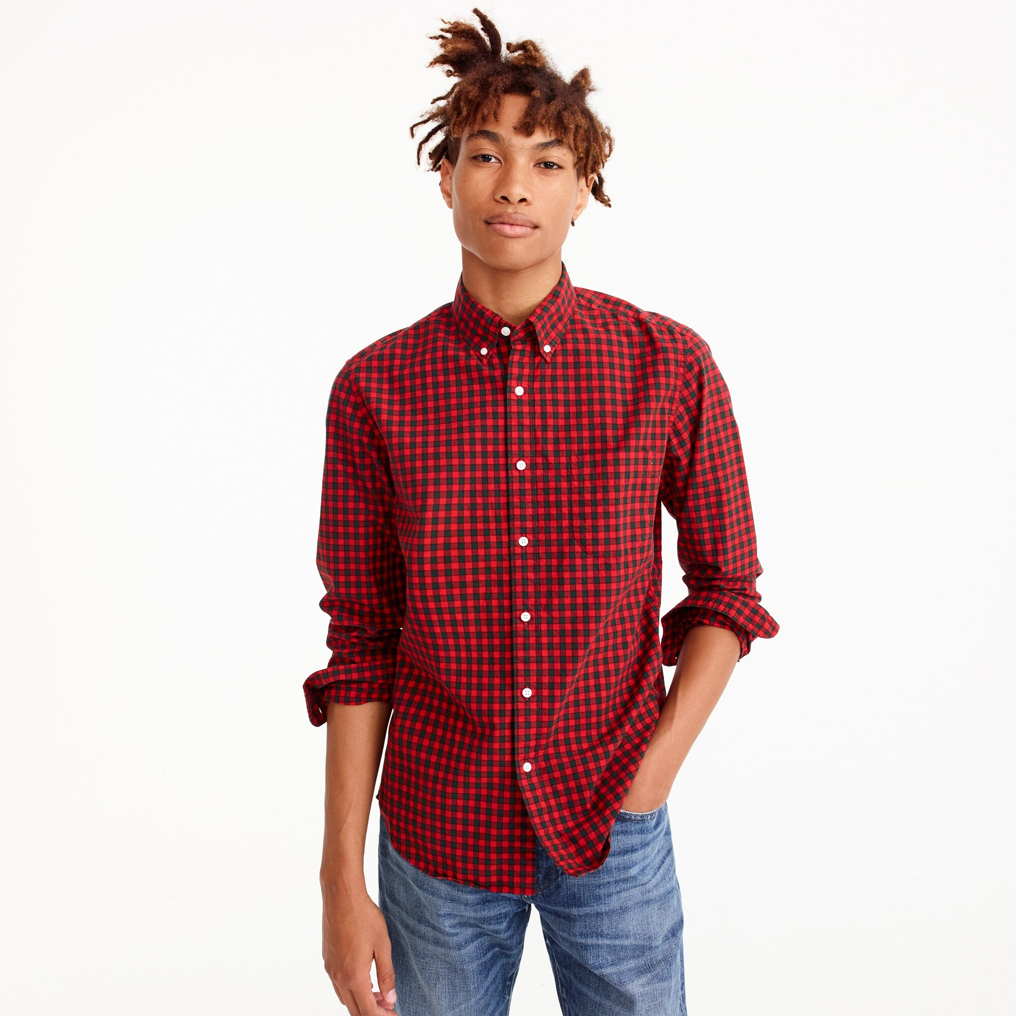 Slim Secret Wash shirt in red check men slim shop c
