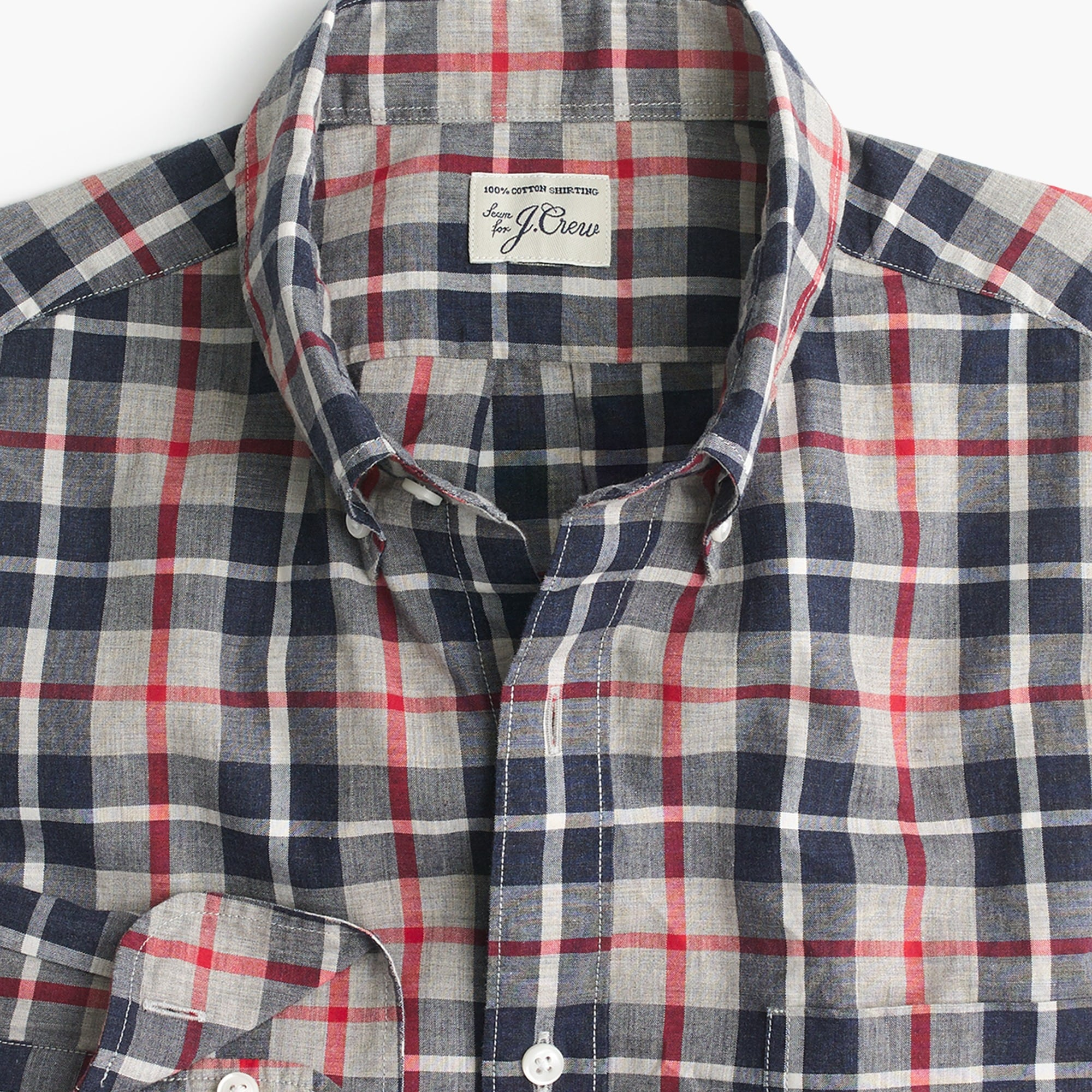 slim secret wash shirt in heather poplin grey and red plaid : men slim