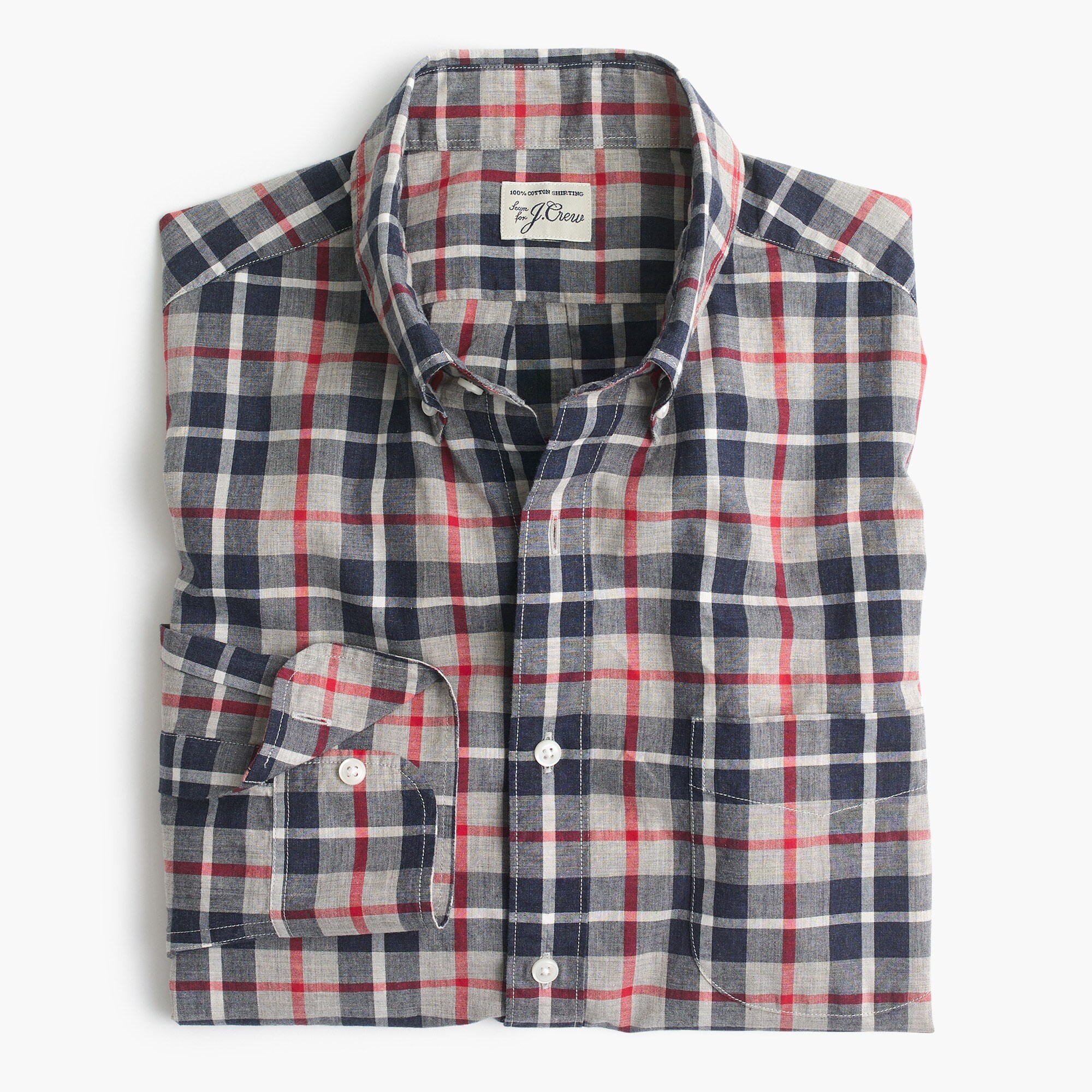 Image 4 for Slim Secret Wash shirt in heather poplin grey and red plaid