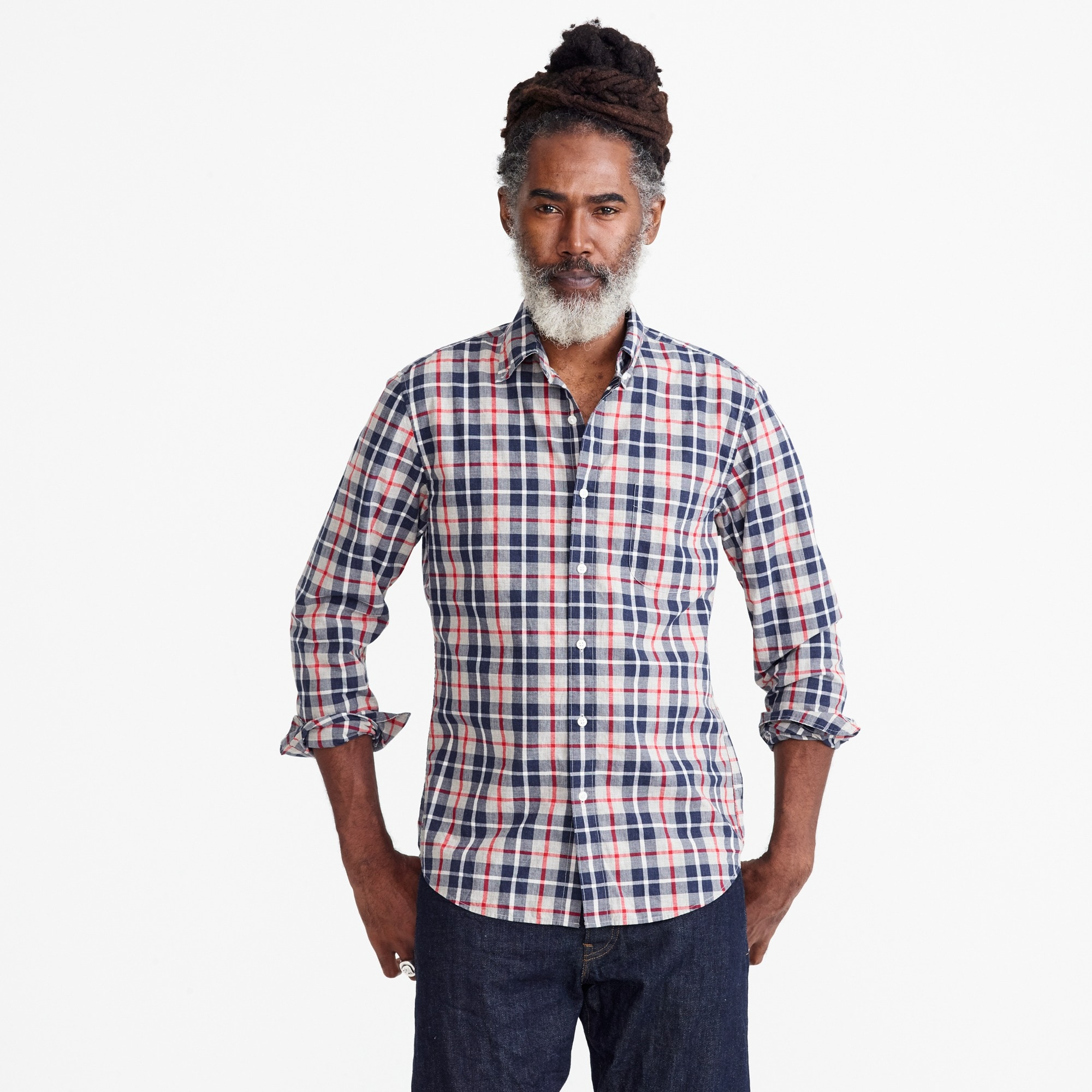 Image 2 for Slim Secret Wash shirt in heather poplin grey and red plaid