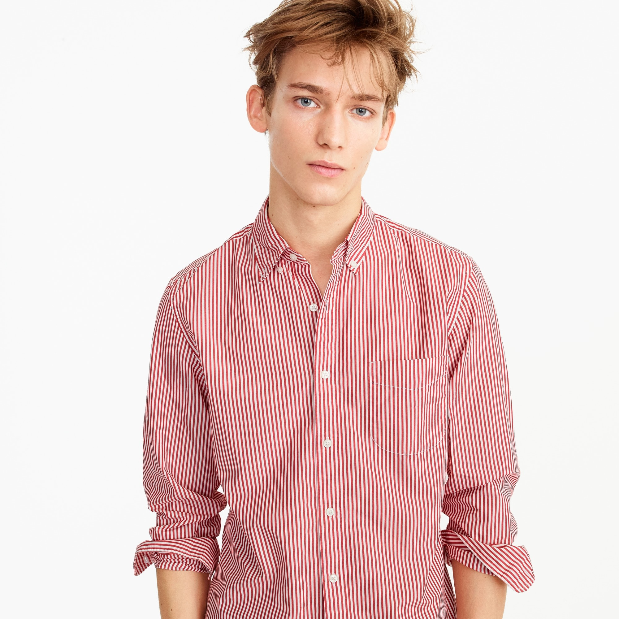 Slim Secret Wash shirt in red and white stripe men slim shop c
