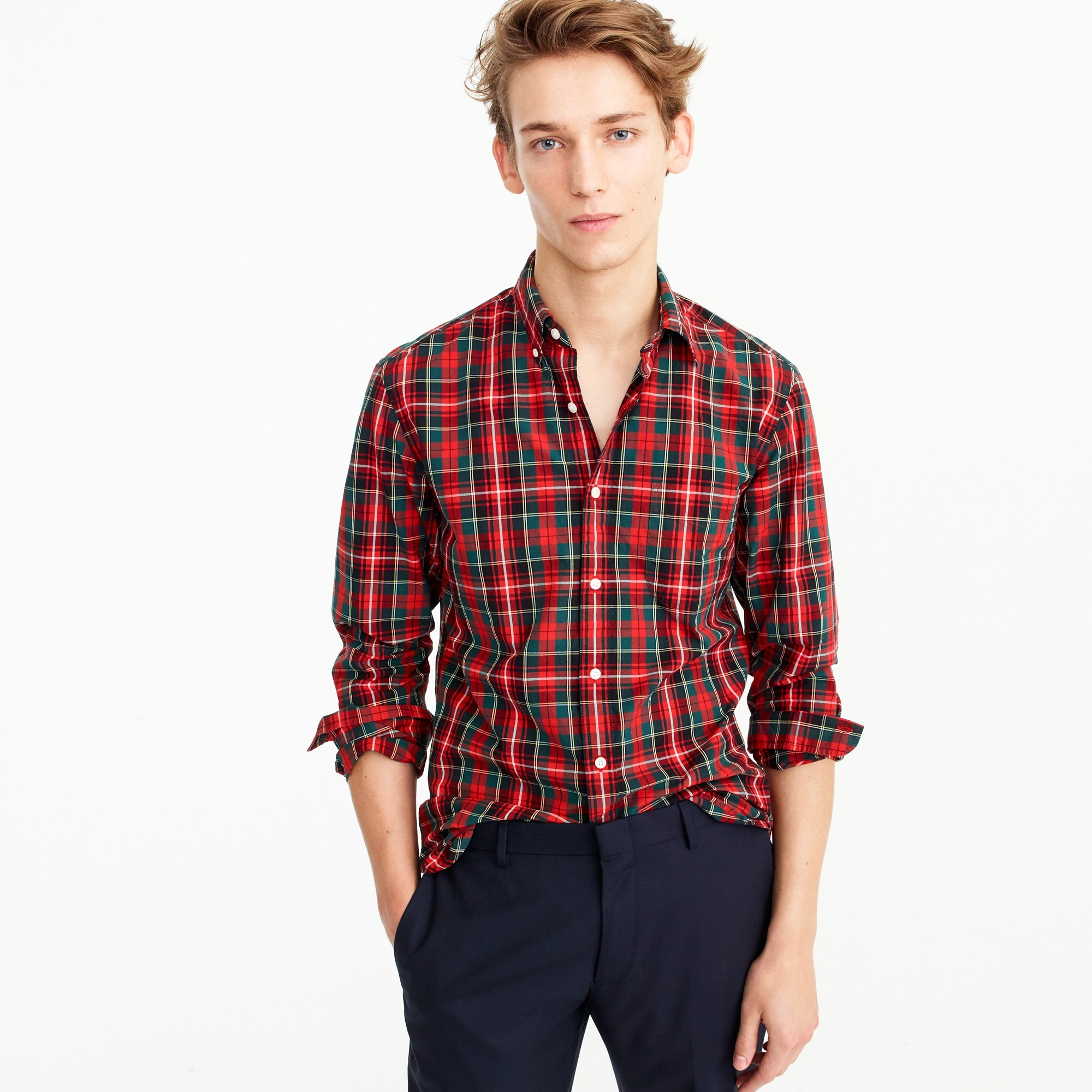 Secret Wash shirt in cherry plaid men casual shirts c