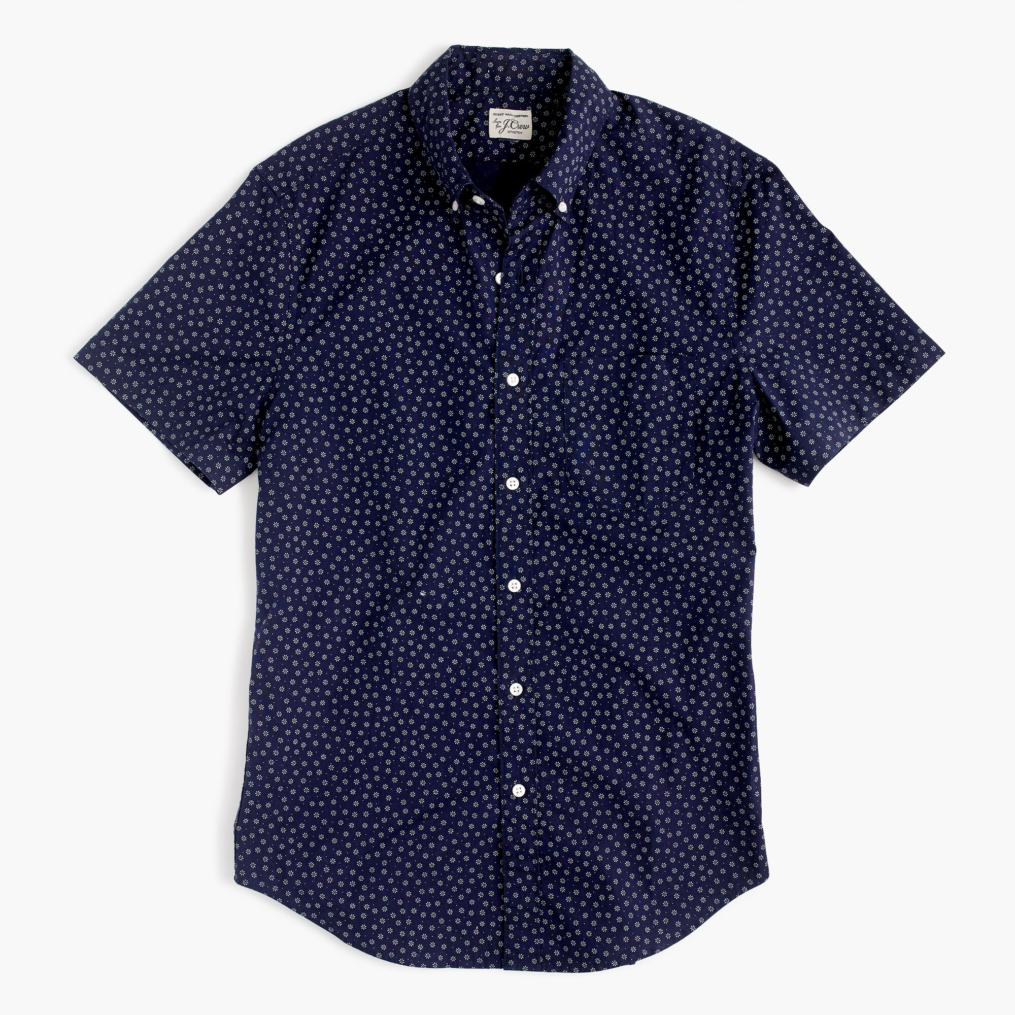 mens Stretch short-sleeve Secret Wash shirt in daisy print