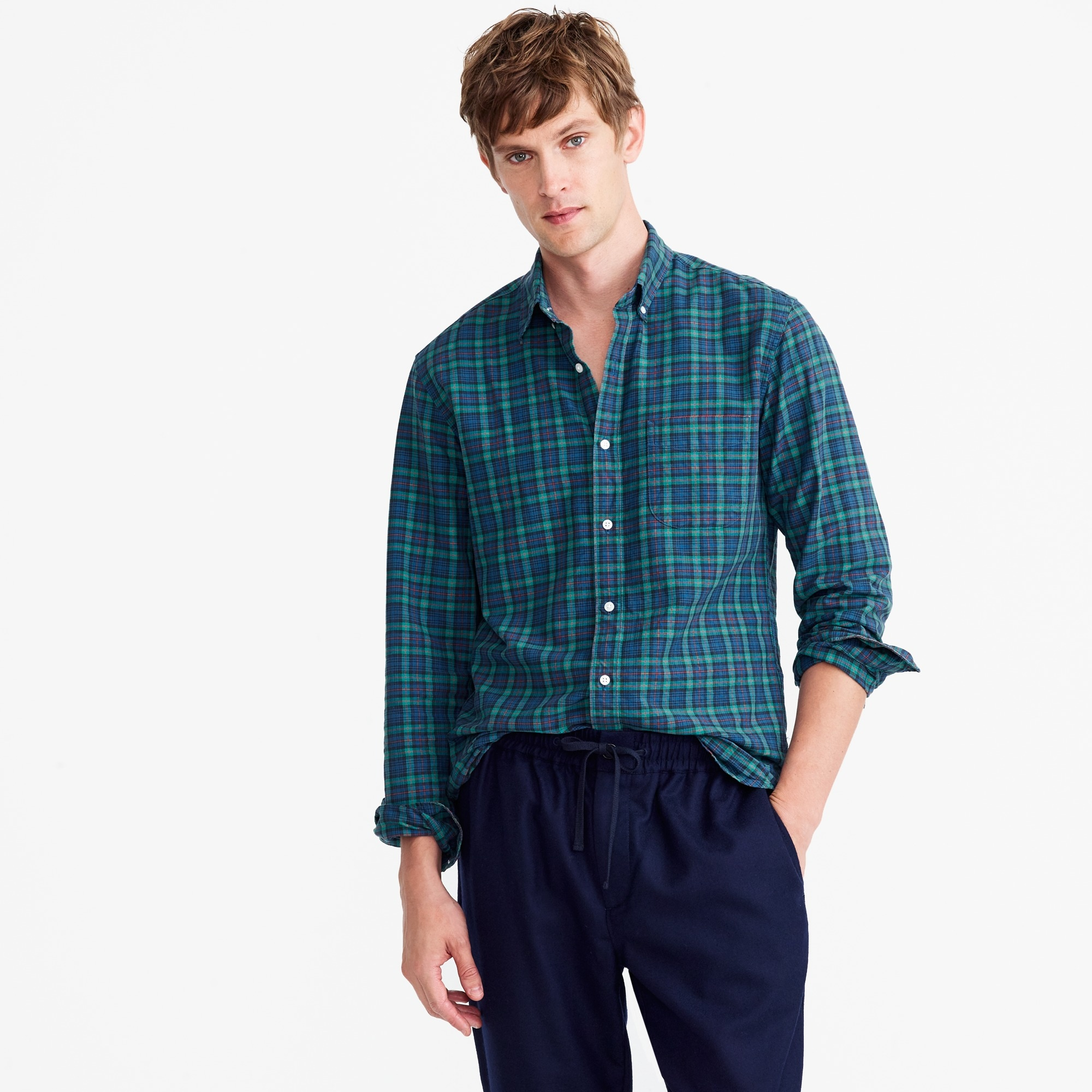Image 2 for Slim American Pima cotton oxford shirt in tartan