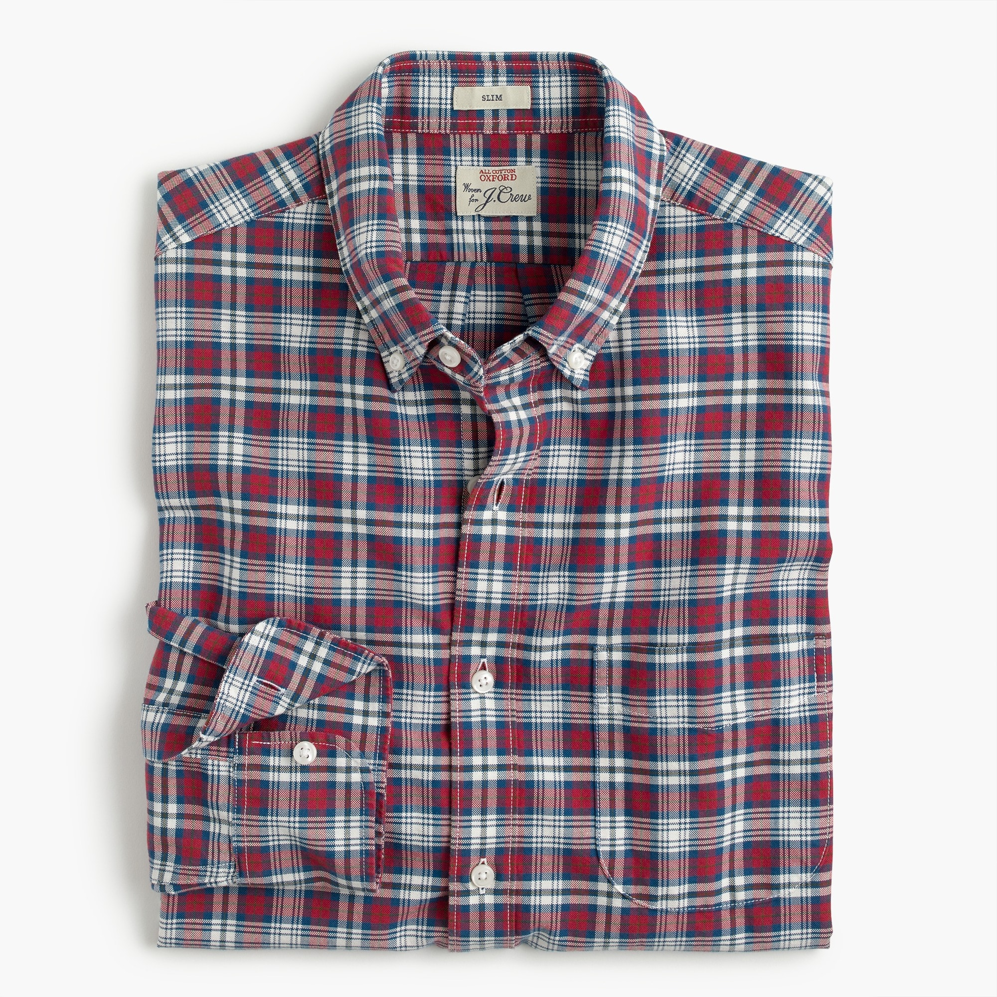Image 1 for Slim American Pima cotton oxford shirt in tartan