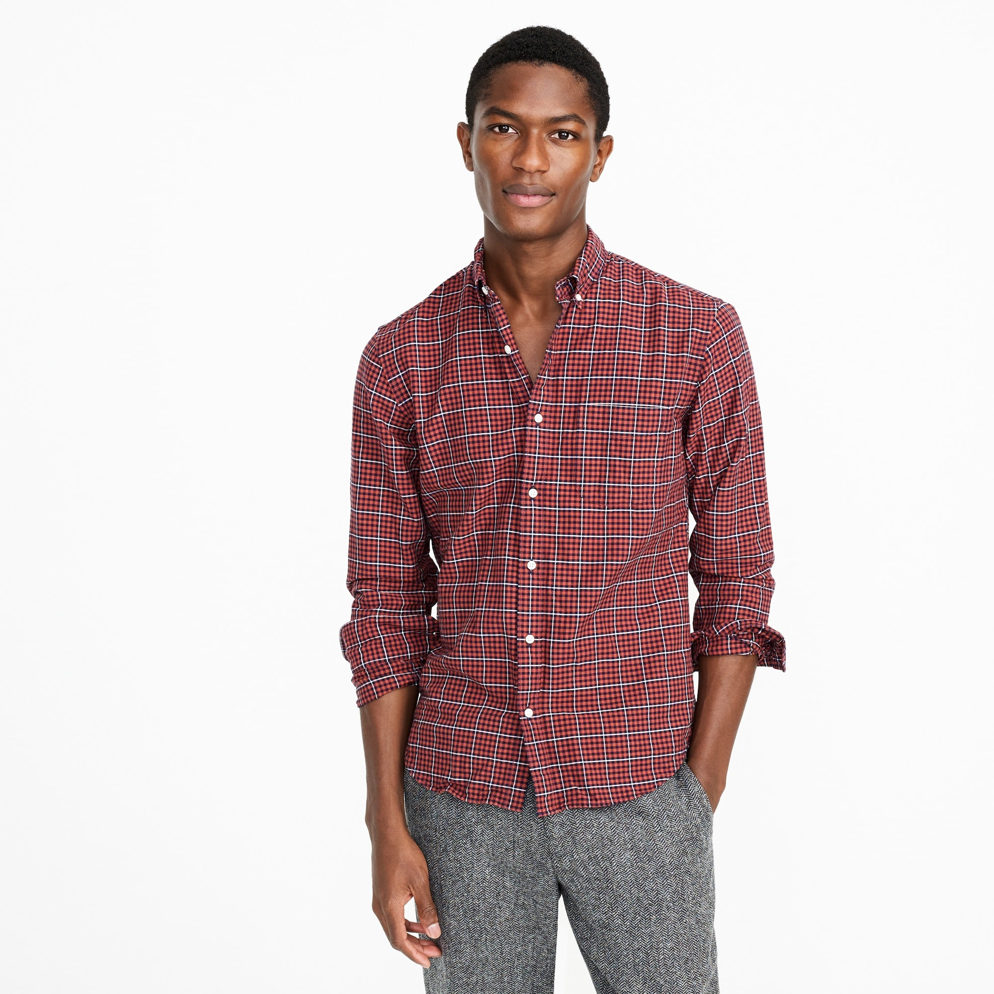 Slim American Pima cotton oxford shirt in red plaid