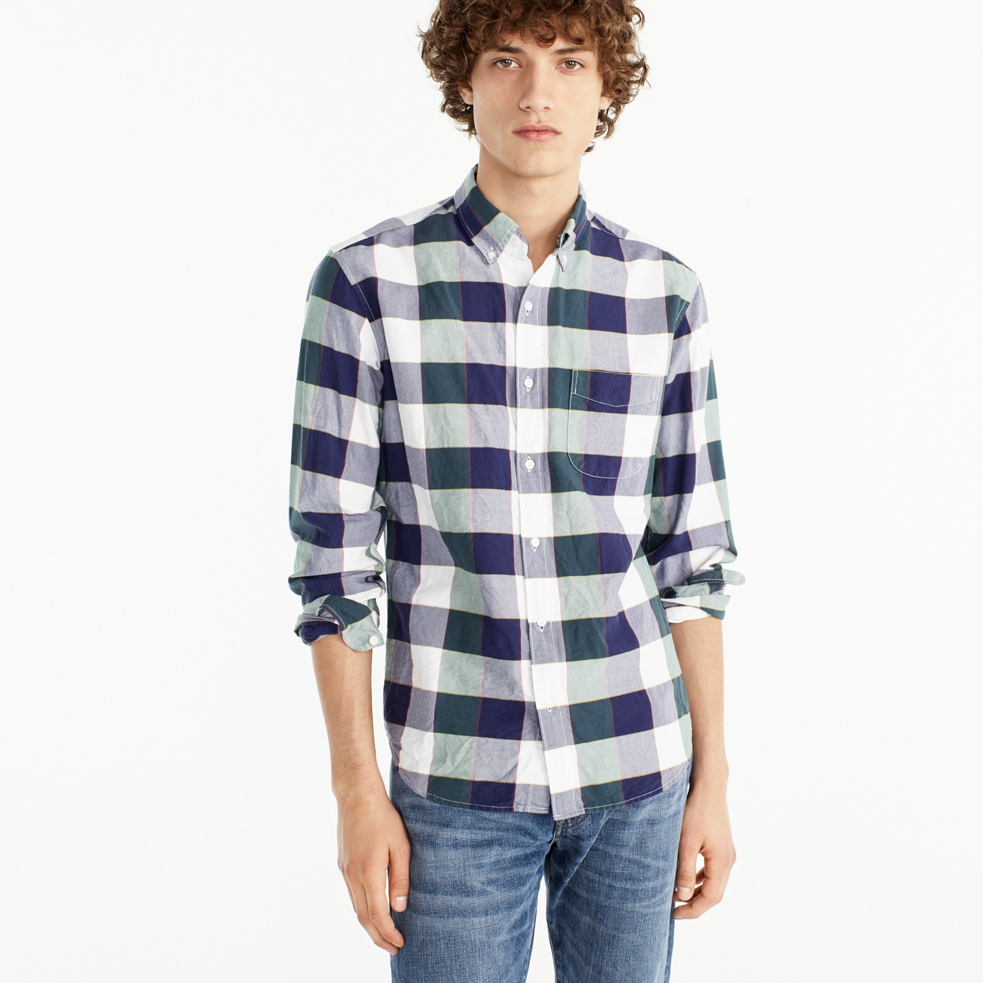 Slim American Pima cotton oxford shirt in green-and-navy check