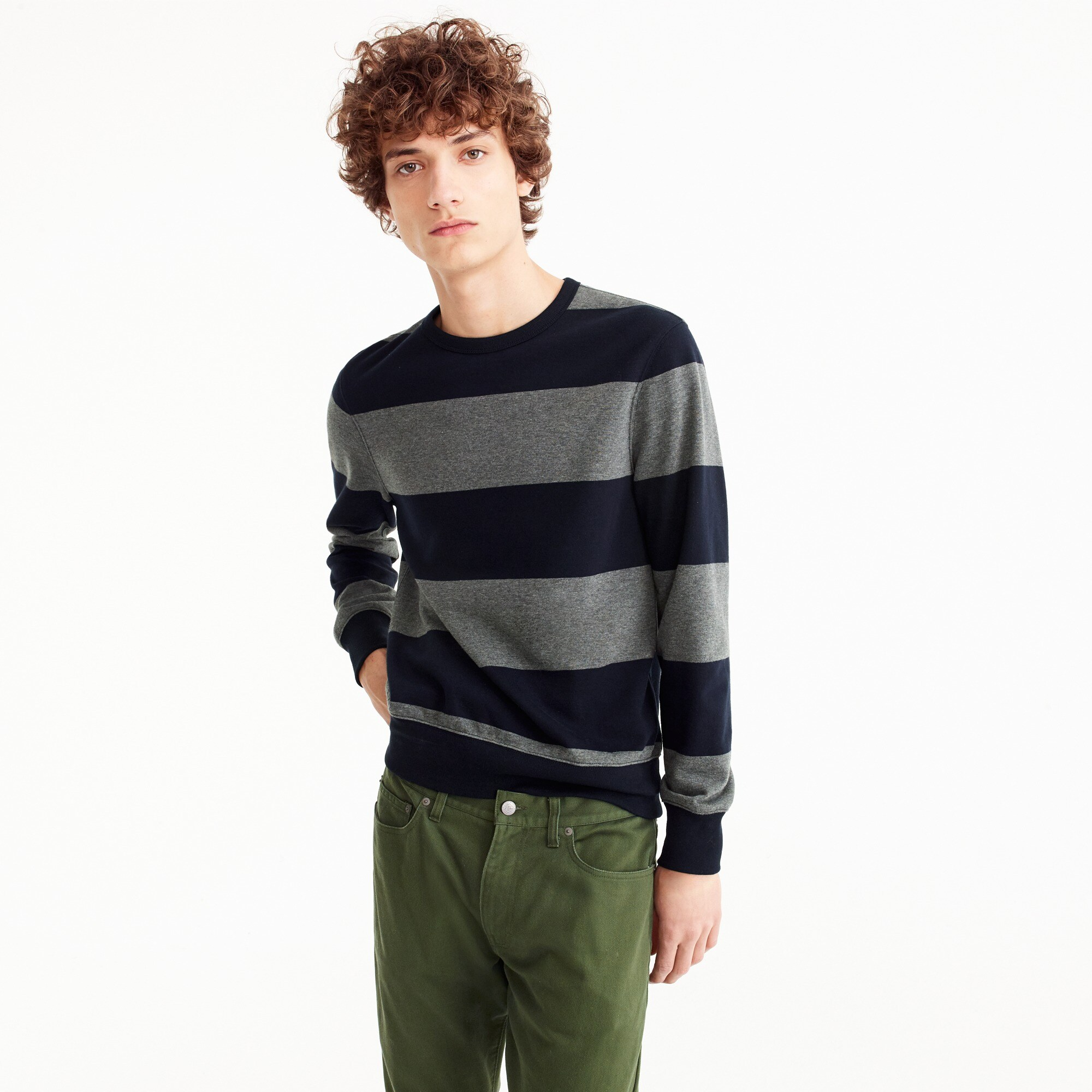 French terry crewneck sweatshirt in stripe