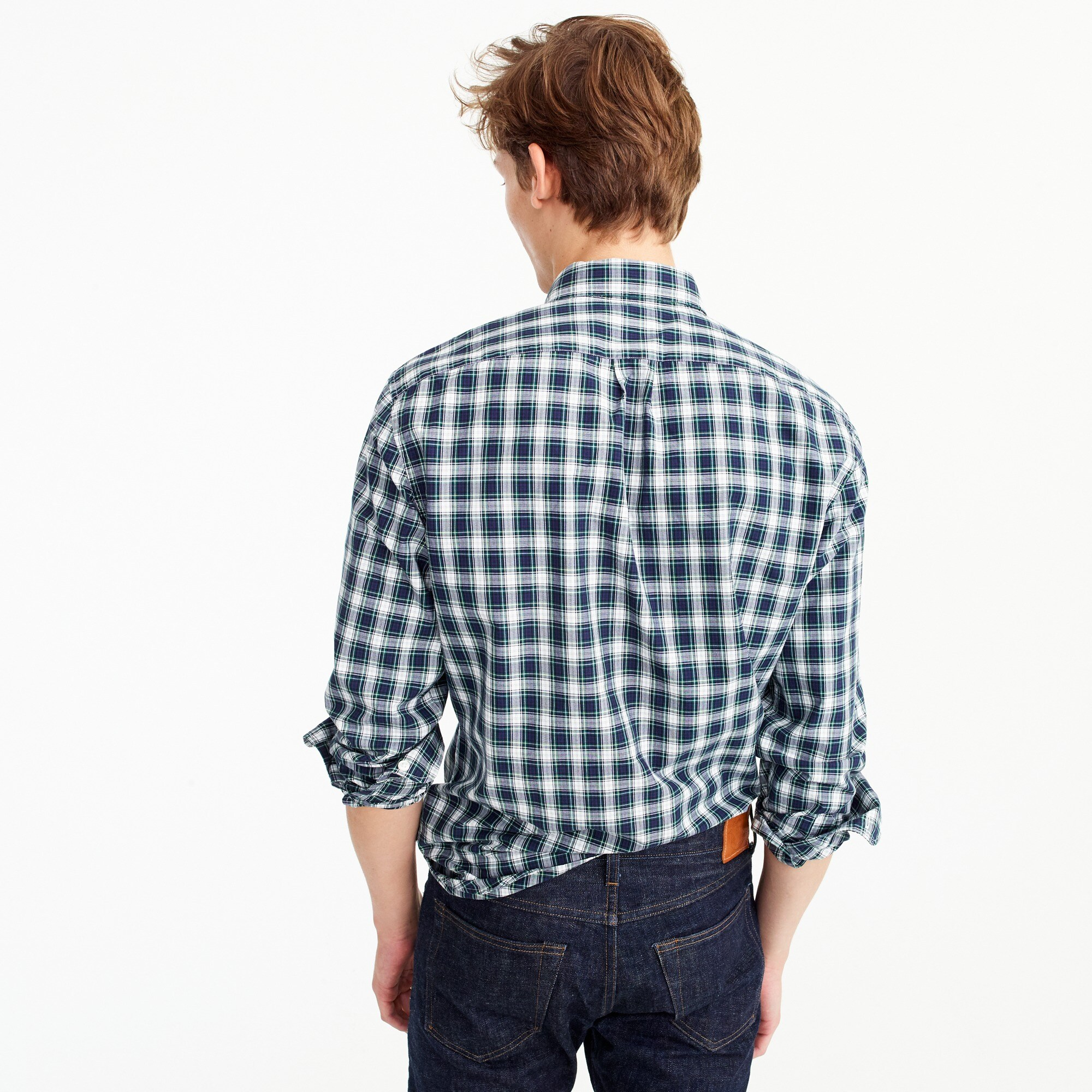 Slim Secret Wash shirt in navy plaid