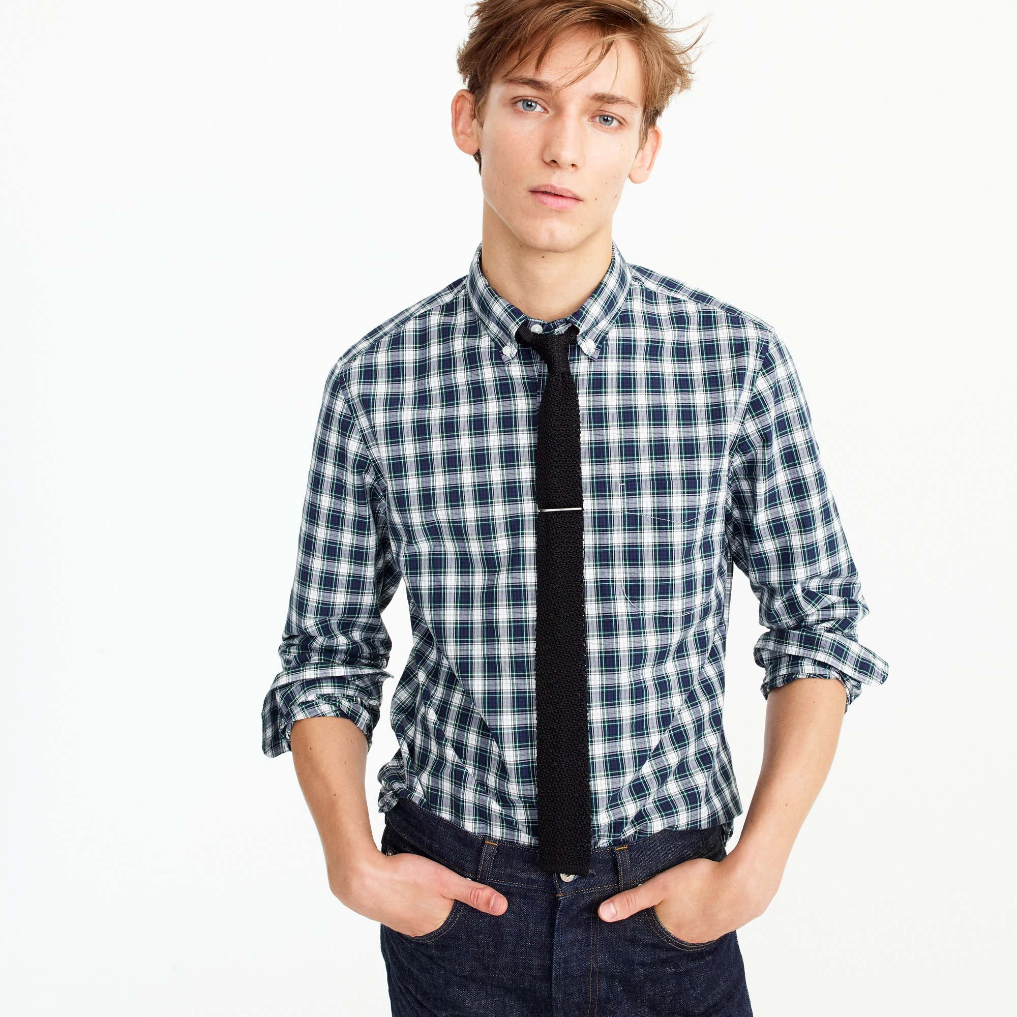 Image 1 for Slim Secret Wash shirt in navy plaid