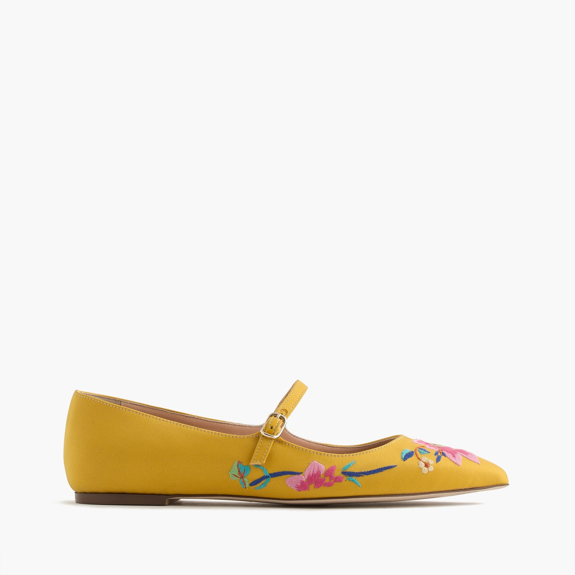 Embroidered satin Mary Jane flat