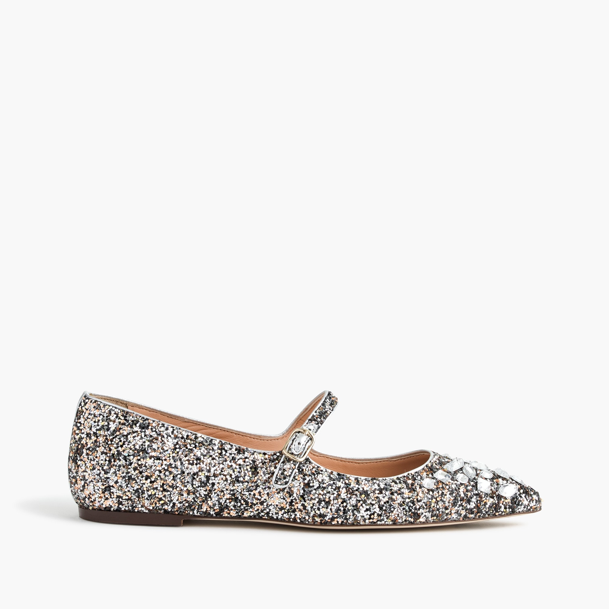 Glitter Mary Jane flats with embellishments
