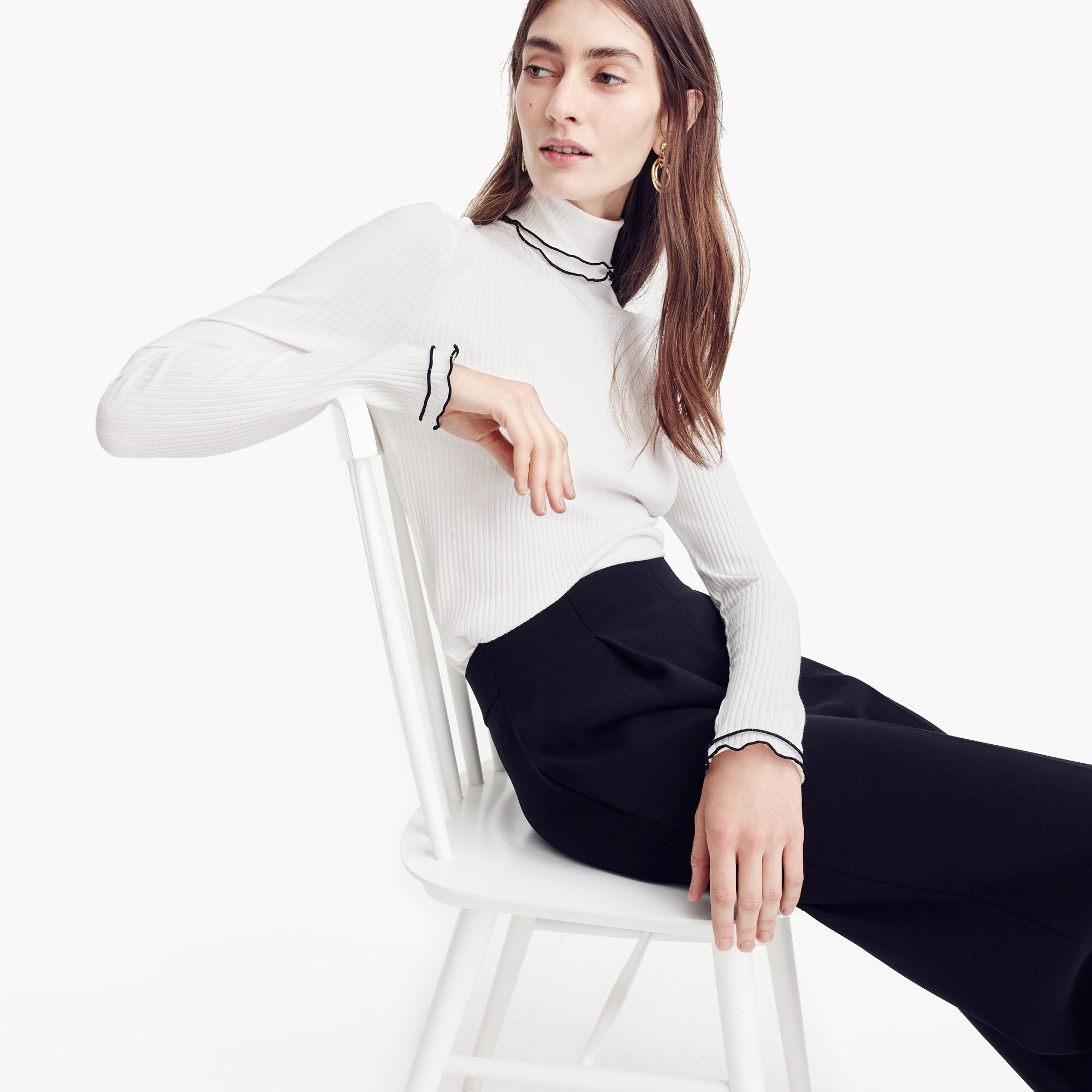 Image 2 for Contrast ribbed turtleneck