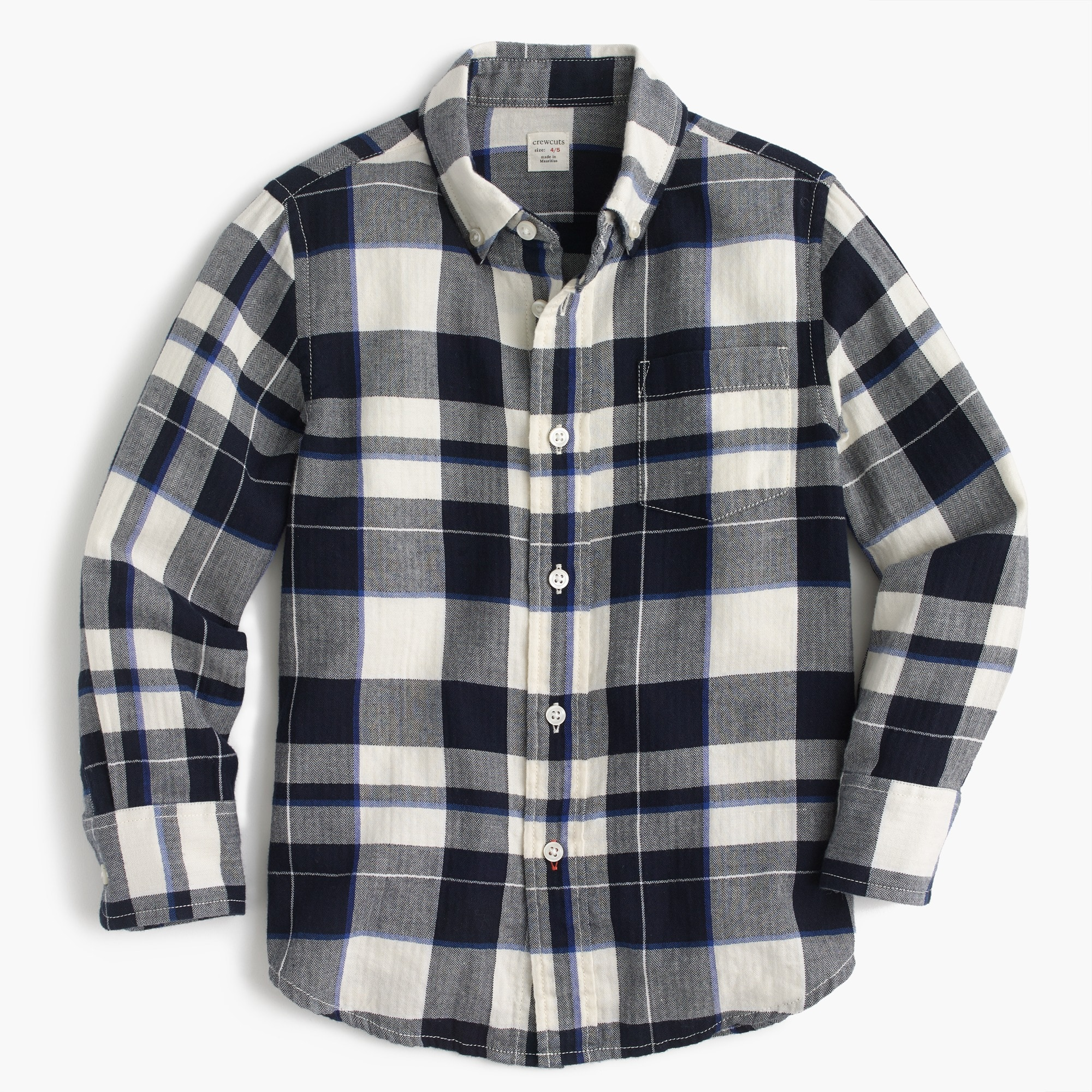 Image 1 for Kids' lightweight flannel shirt in navy plaid