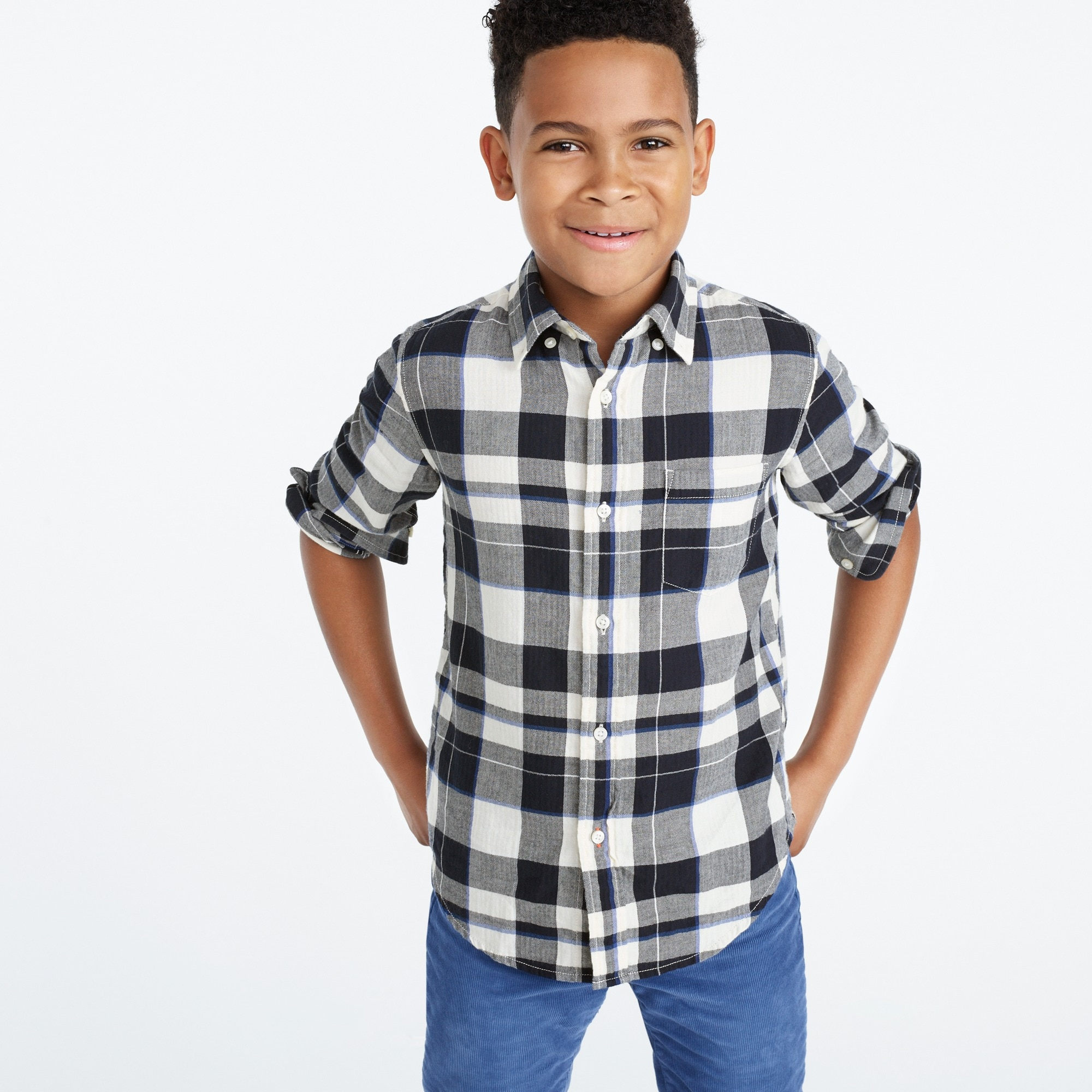 Image 2 for Kids' lightweight flannel shirt in navy plaid