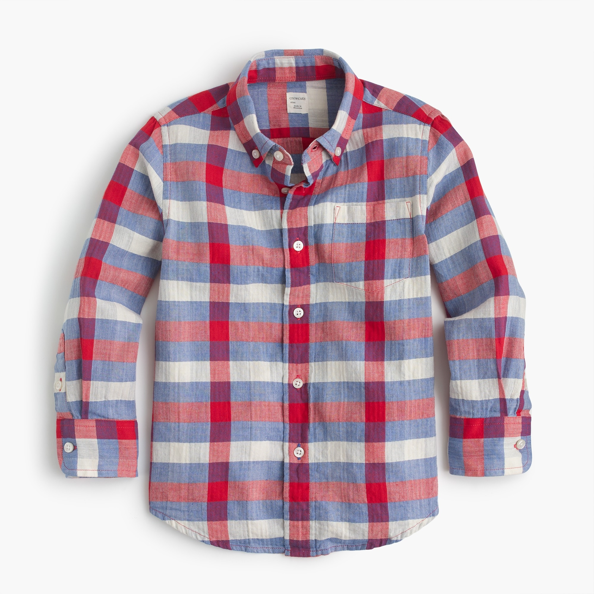 Kids' flannel shirt in herringbone plaid