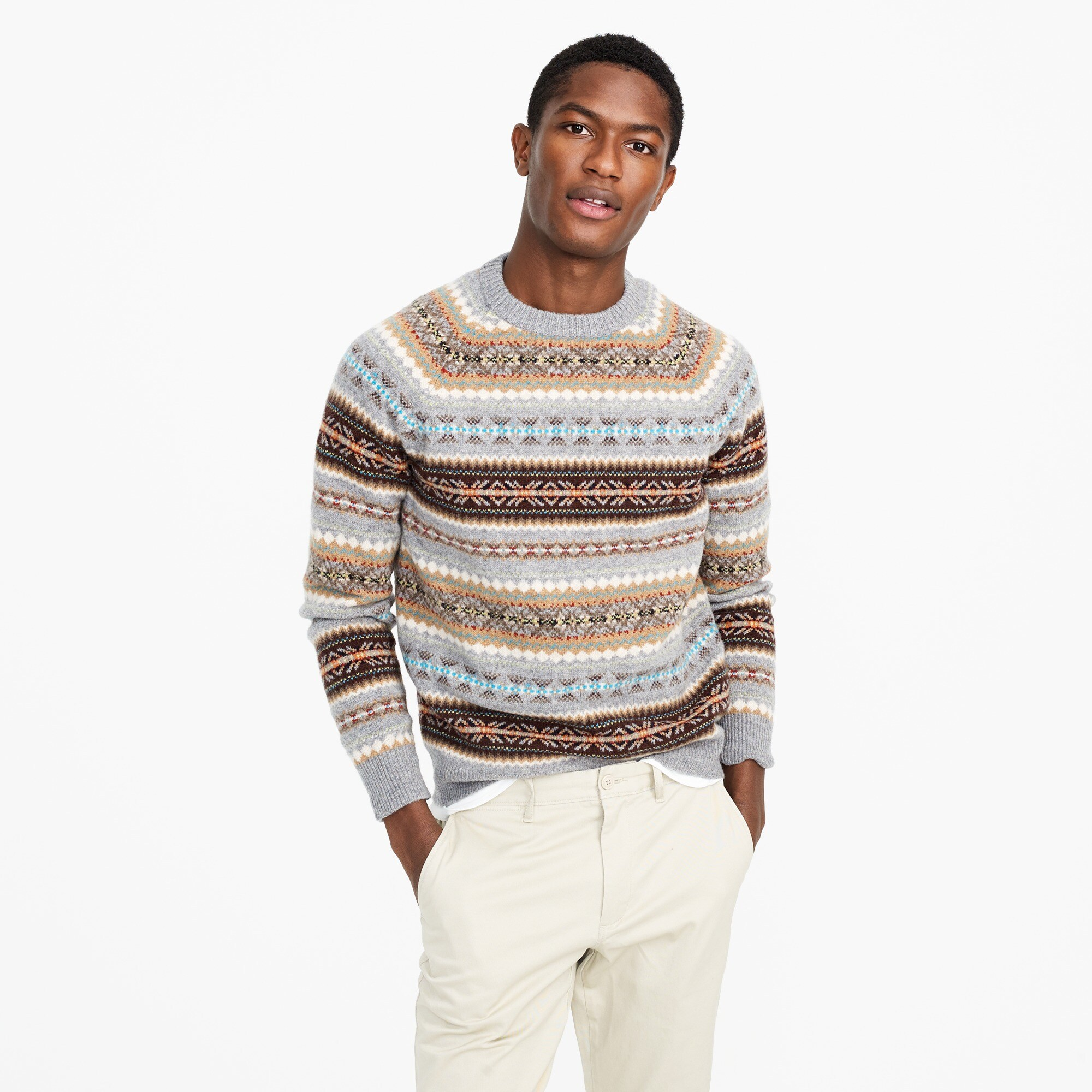Lambswool Fair Isle crewneck sweater in granite
