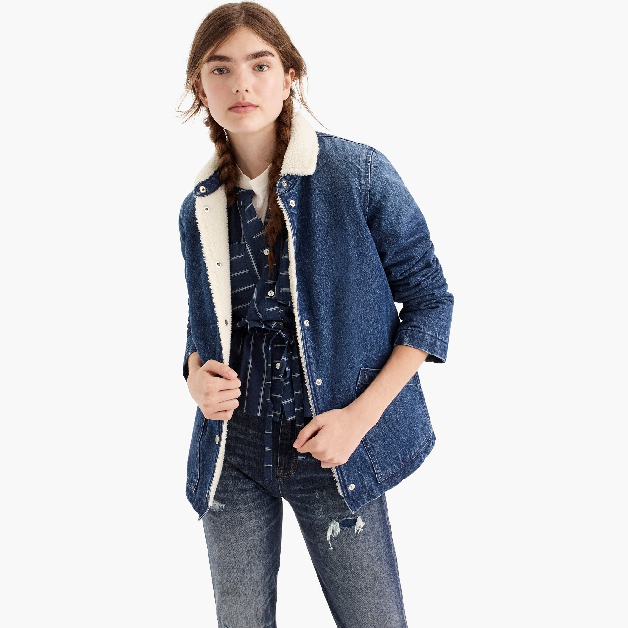 womens Denim sherpa swing jacket