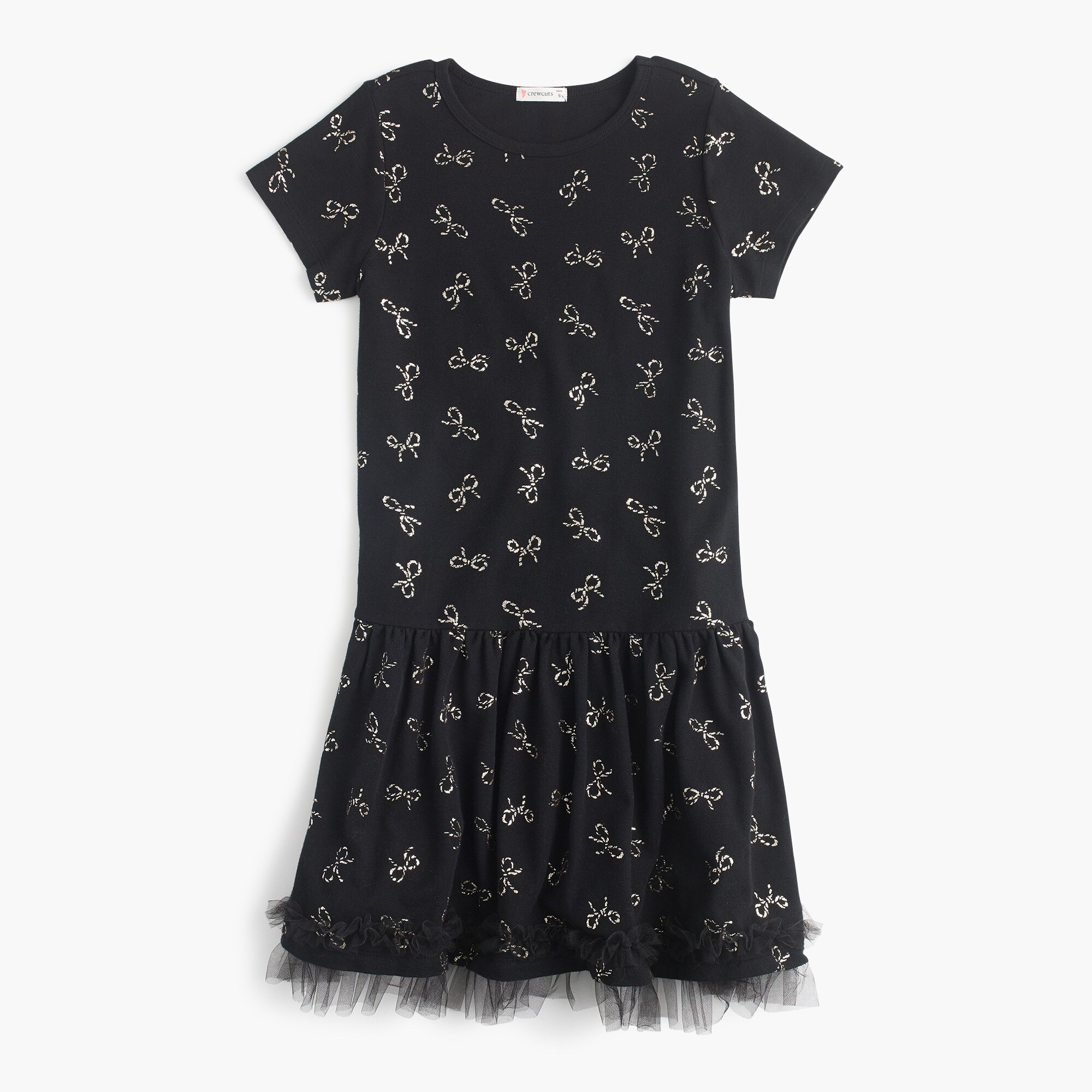 Girls' bow-print dress girl dresses c