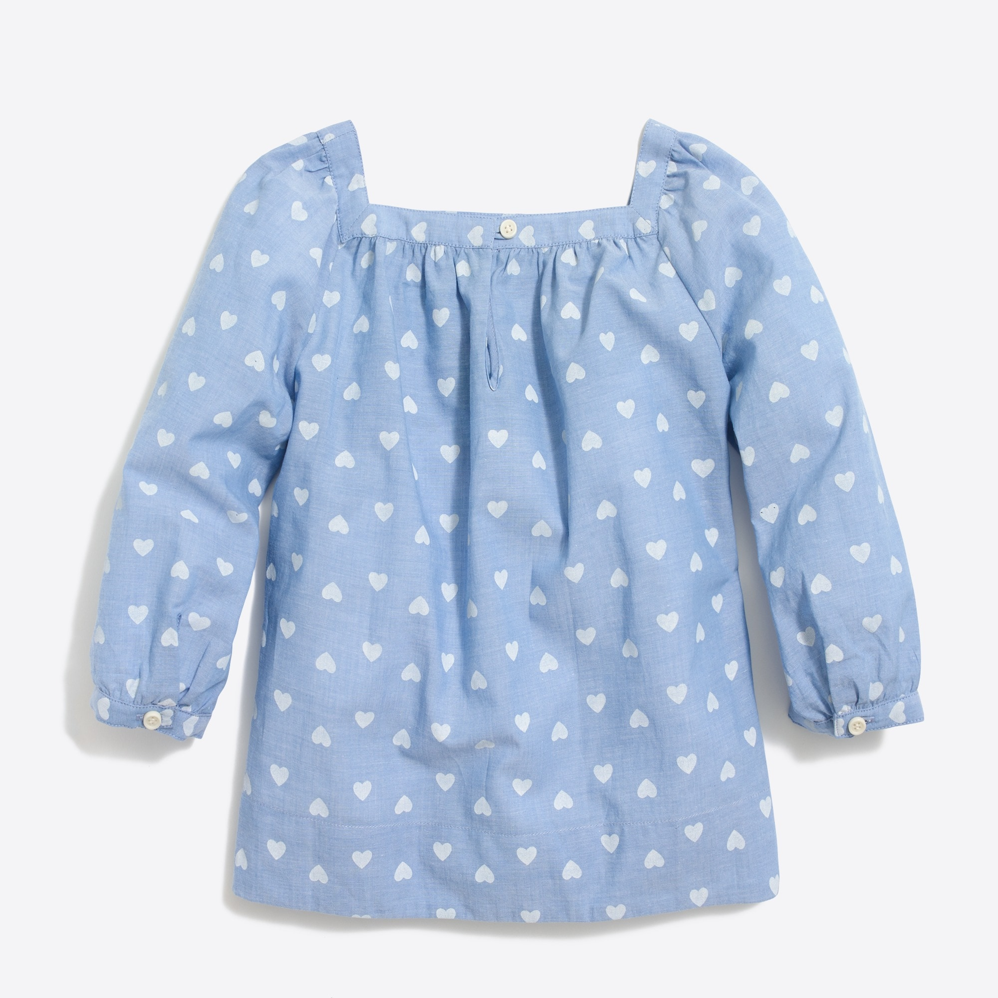Girls' heart-print peasant top