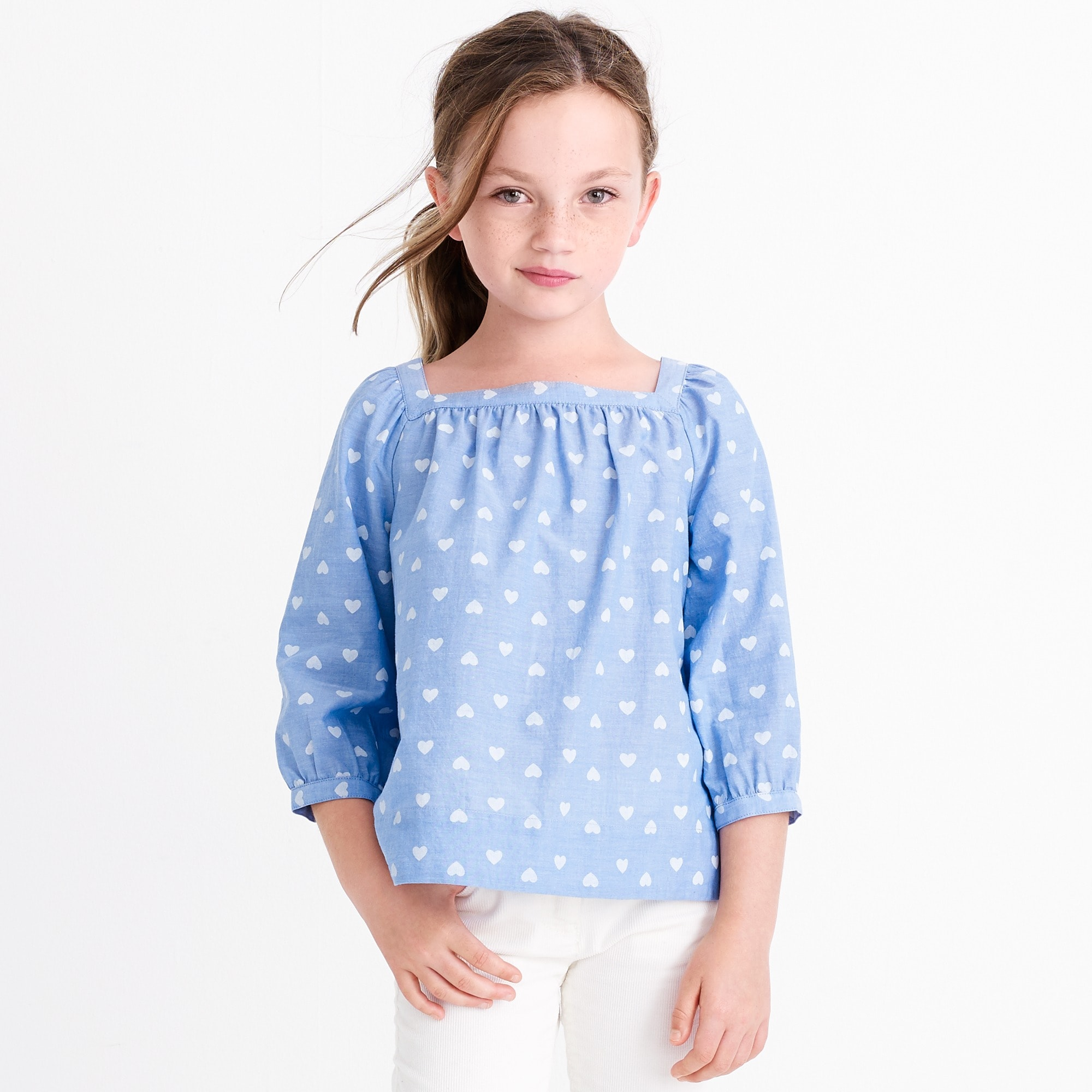 girls' heart-print peasant top : girl novelty shirts