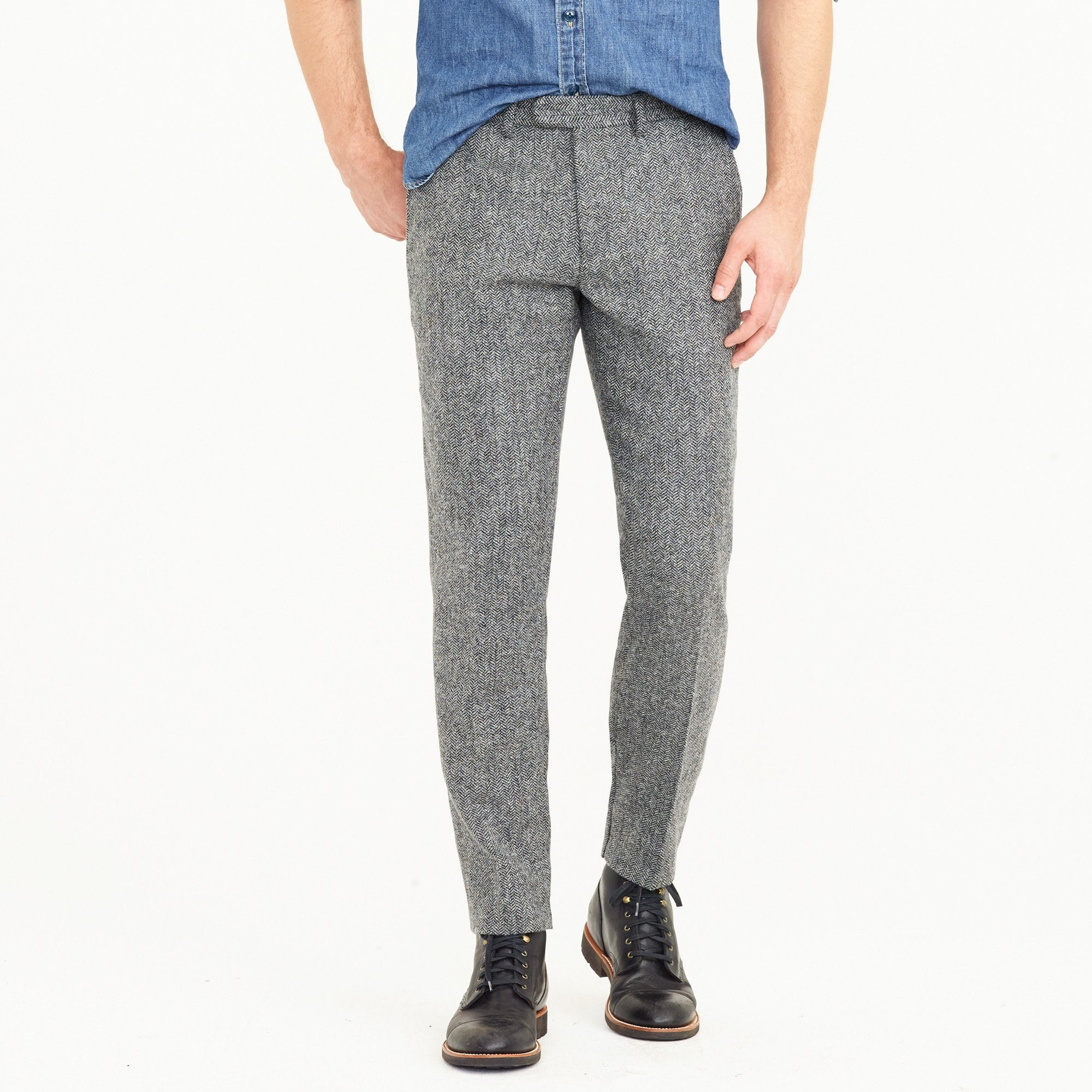 Ludlow Slim-fit pant in English herringbone wool men pants c