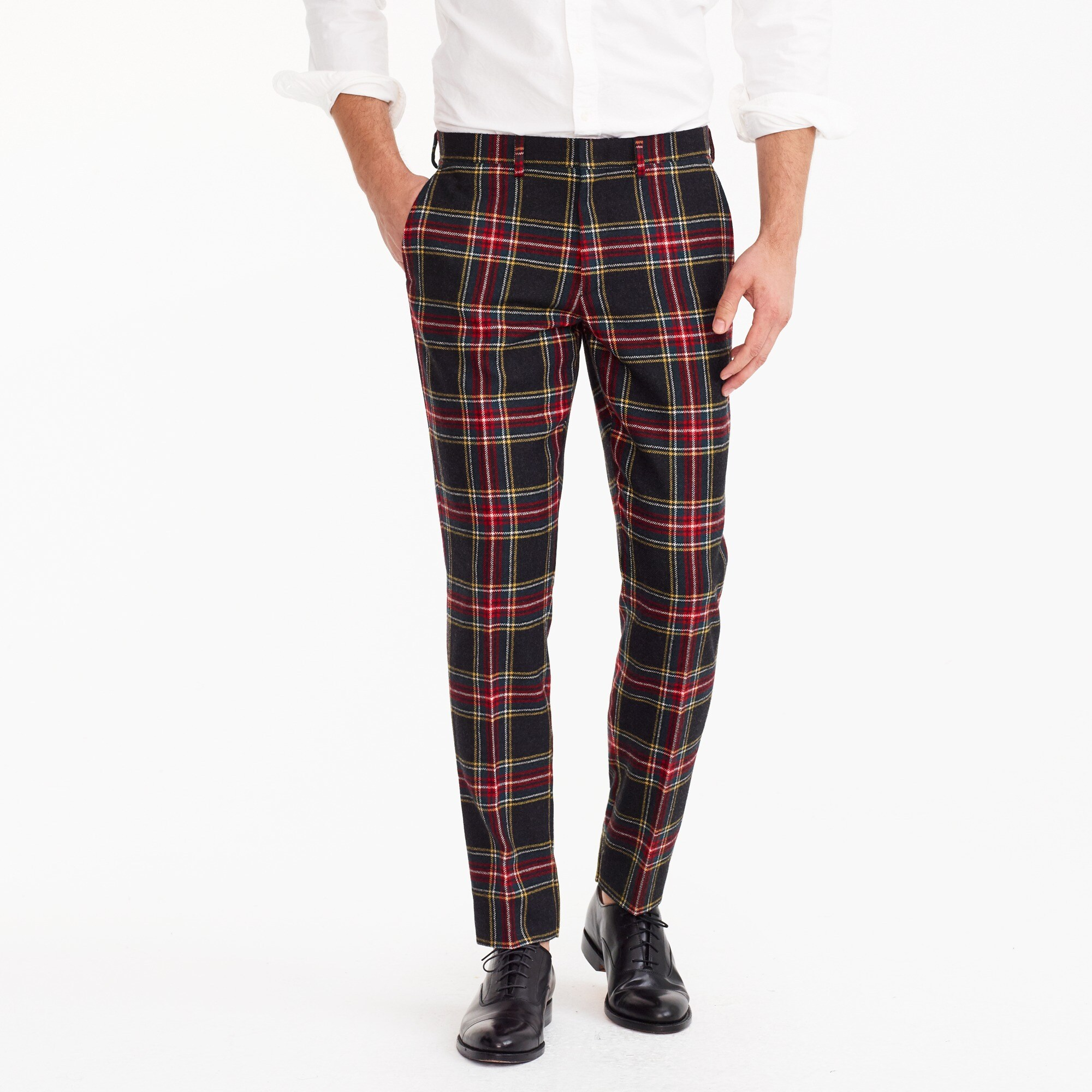 Ludlow Slim-fit pant in wool tartan men pants c