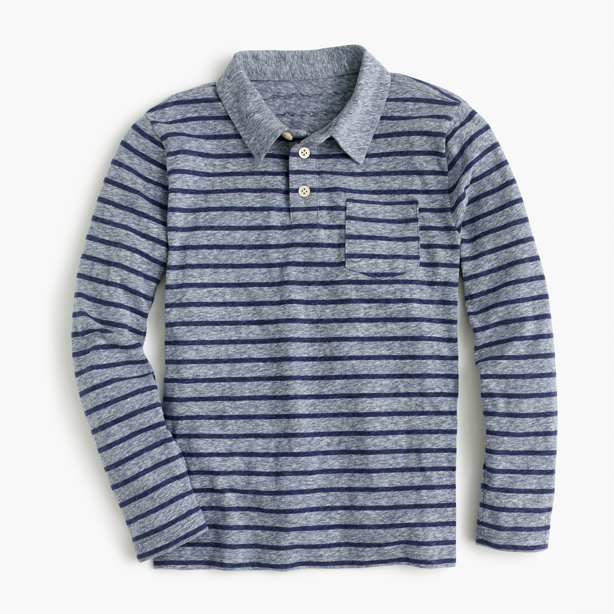 Boys' striped long-sleeve polo