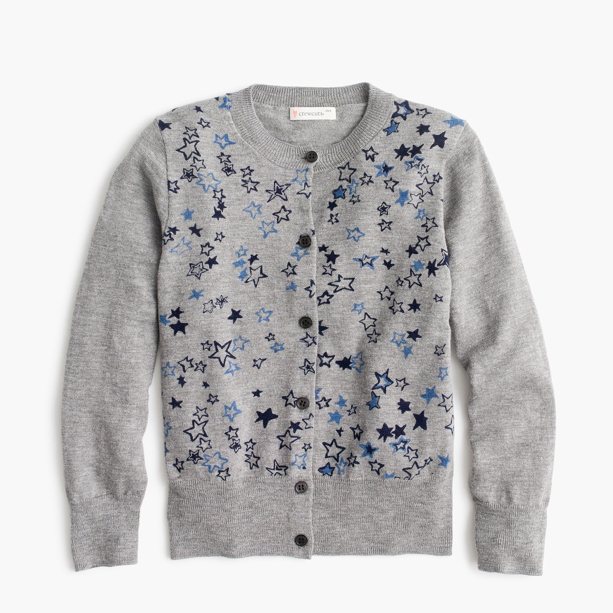 Girls' star-covered cardigan sweater