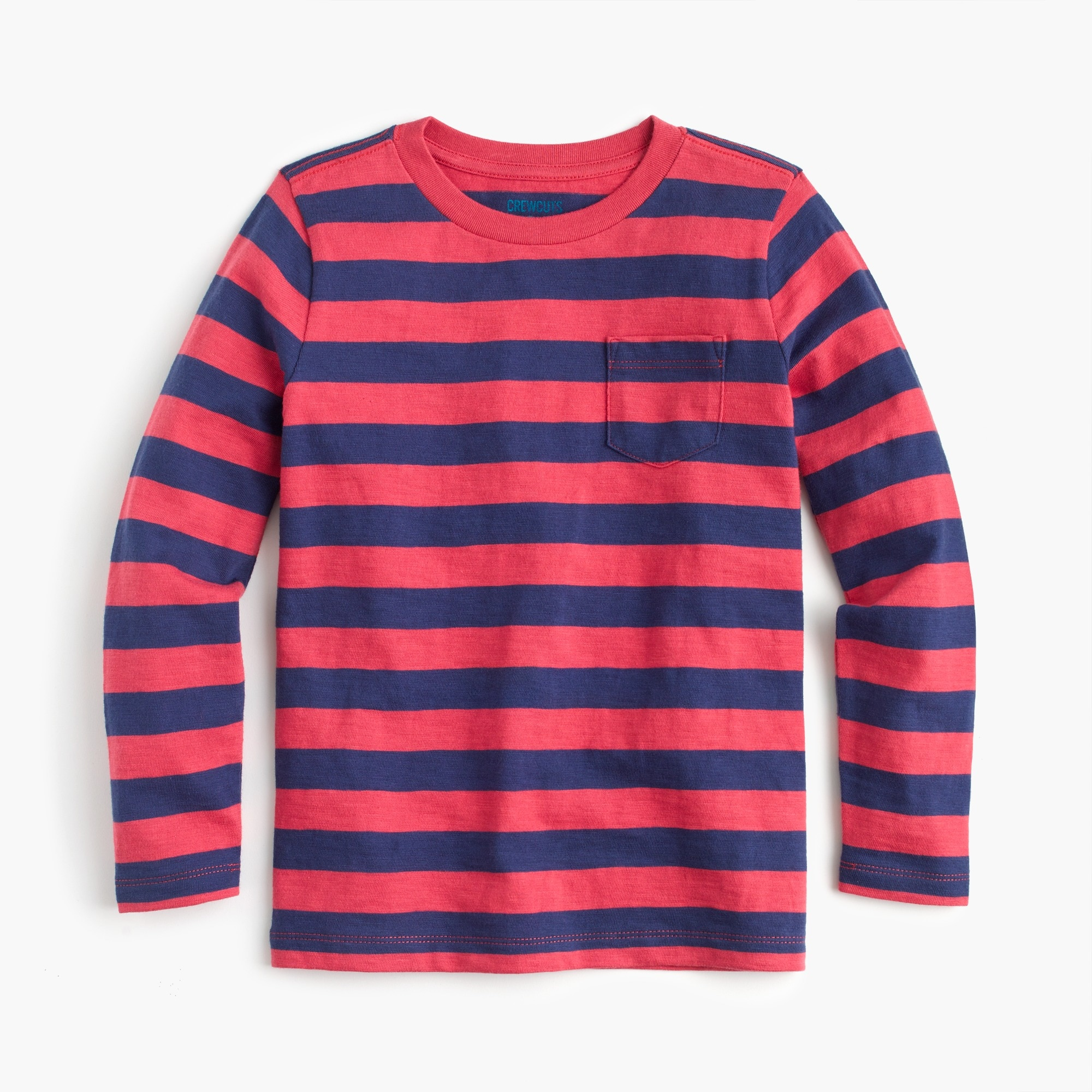 Boys' long-sleeve blue-and-red stripe T-shirt