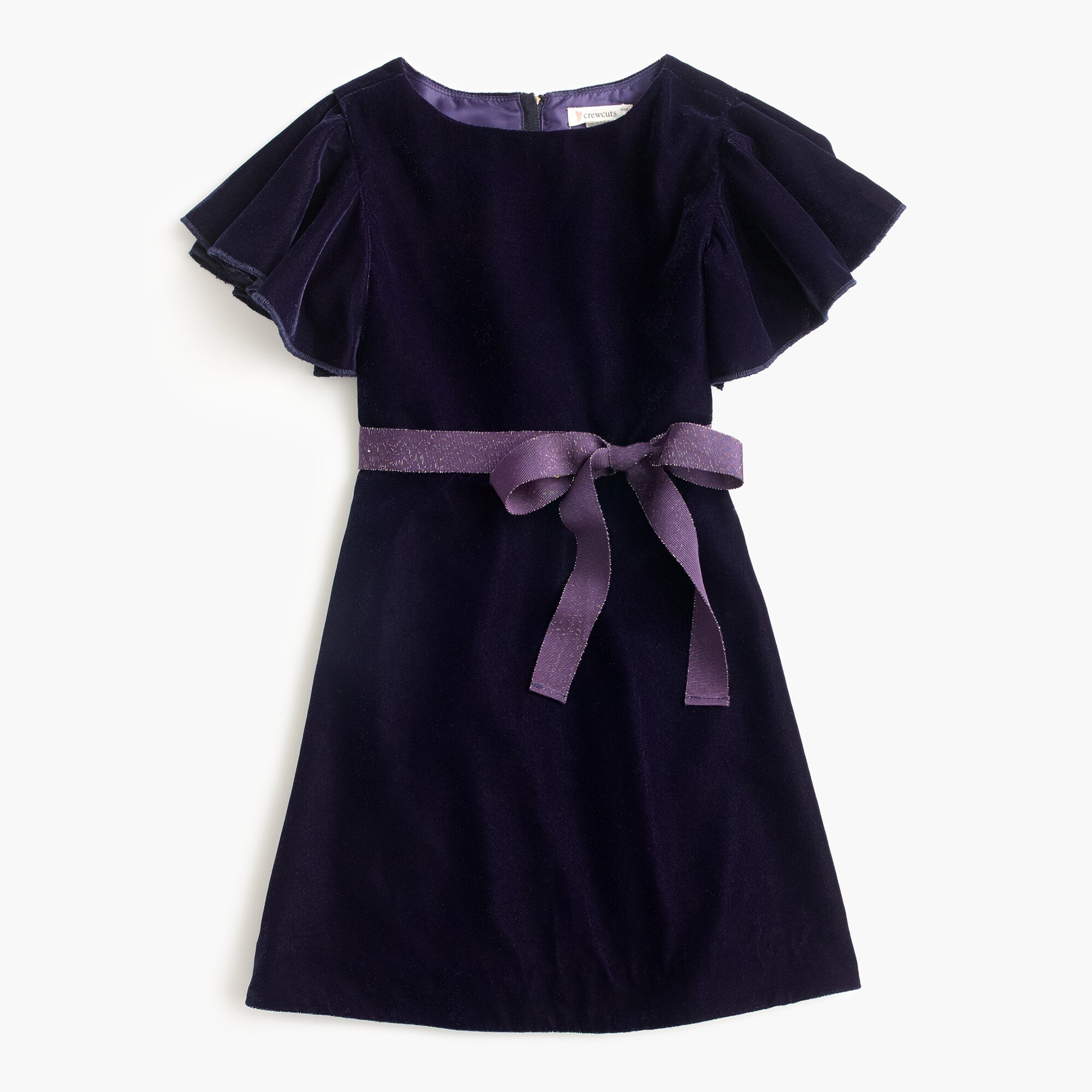 Image 1 for Girls' flutter-sleeve velvet dress
