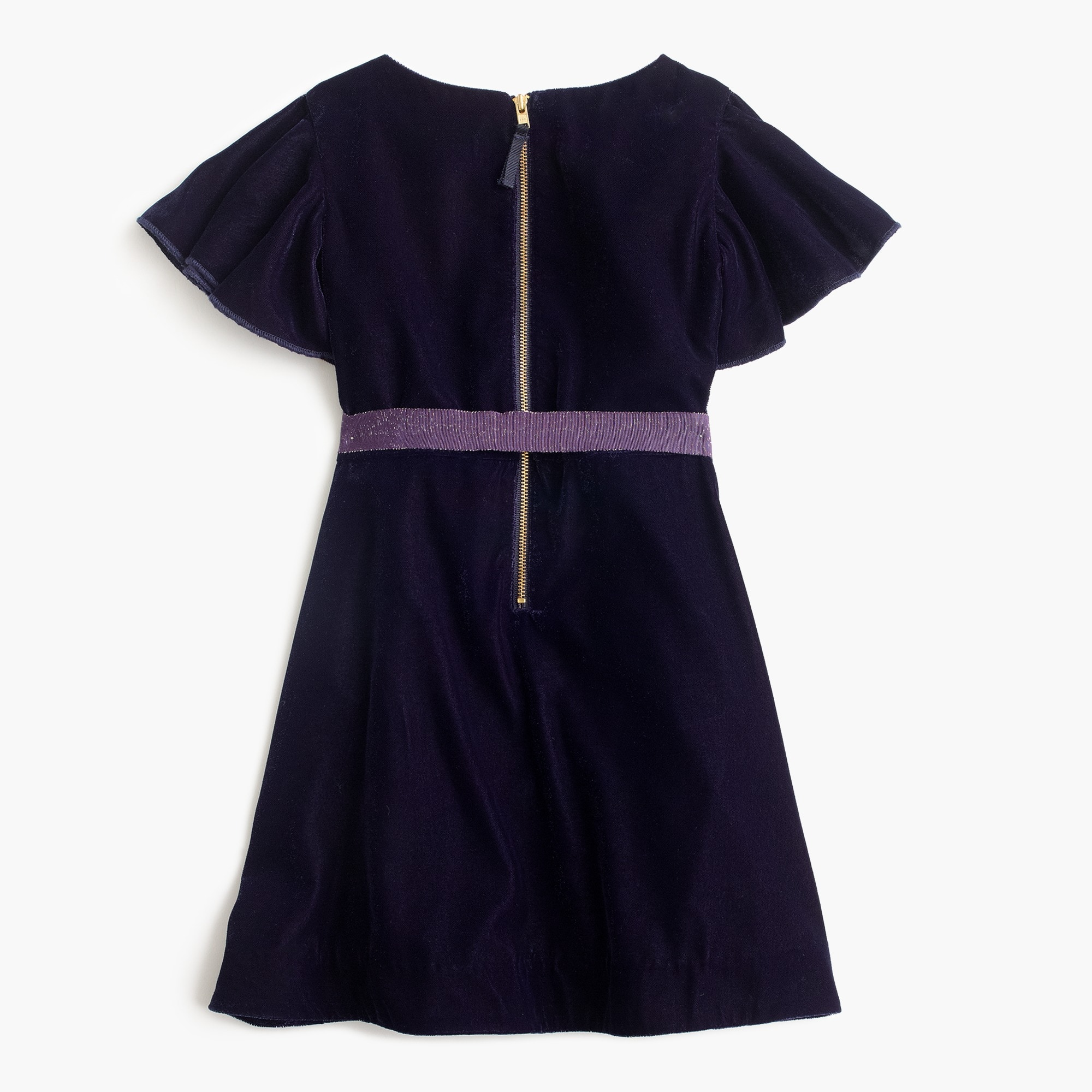 Girls' flutter-sleeve velvet dress