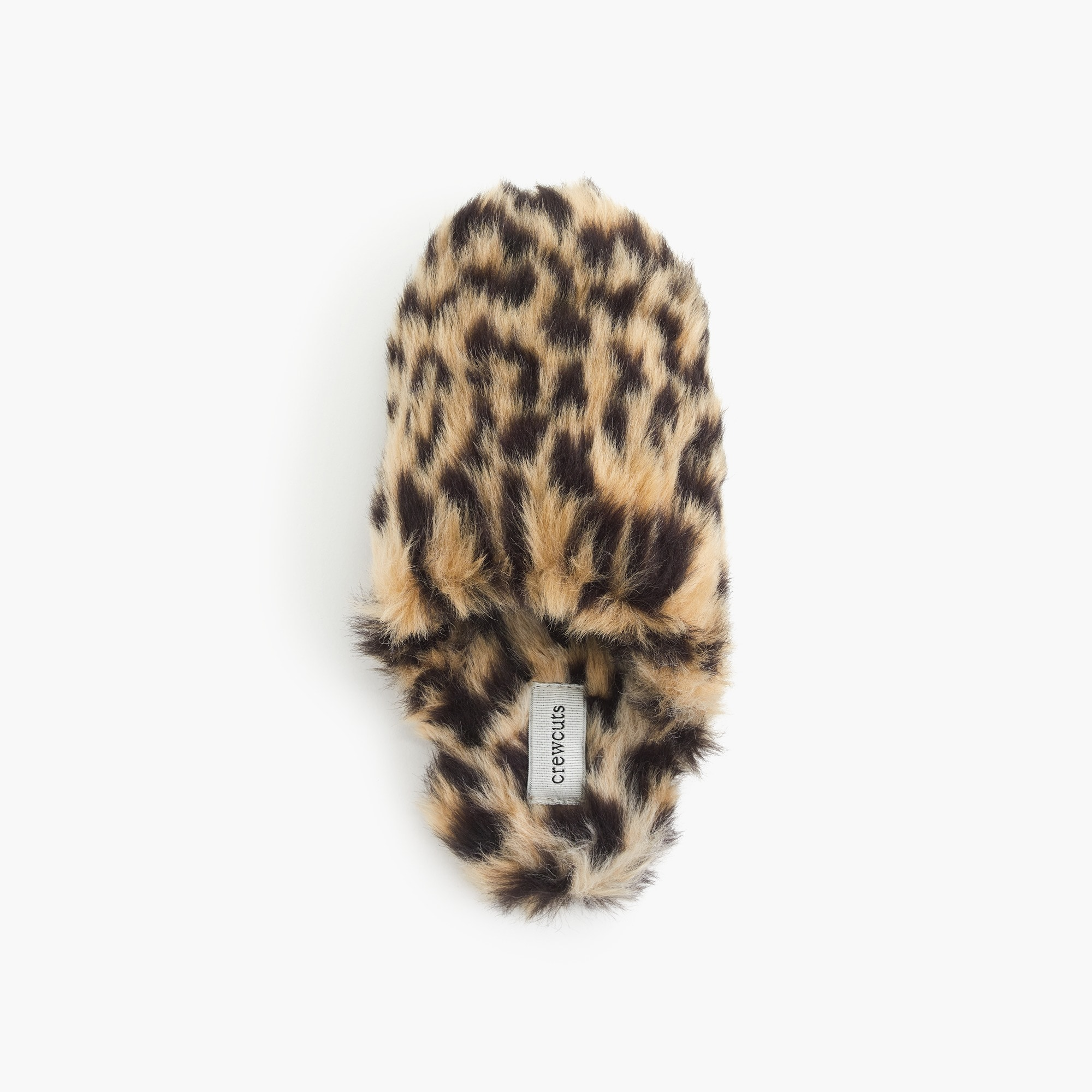 Girls' faux-fur slippers in leopard print