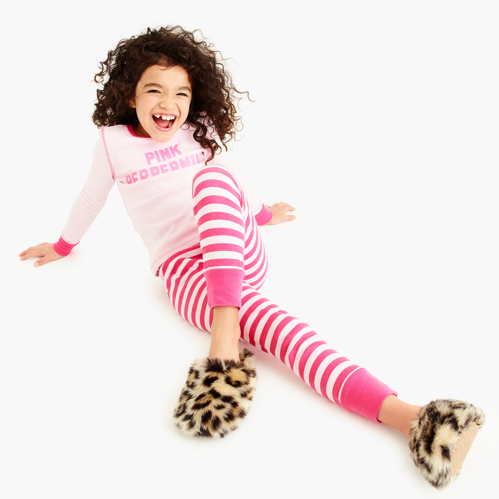 Image 1 for Girls' faux-fur slippers in leopard print
