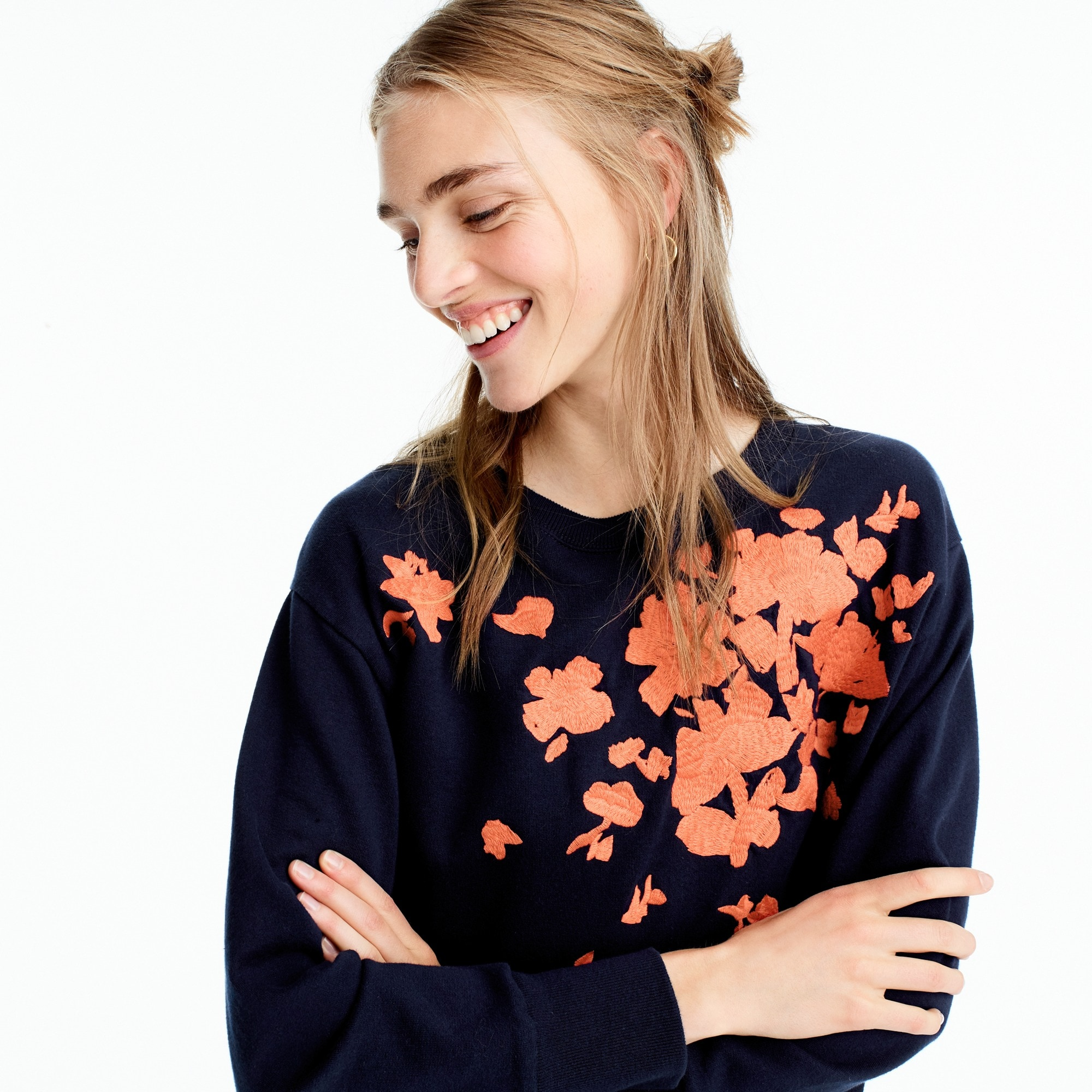 Embroidered flower sweatshirt women sweatshirts & sweatpants c
