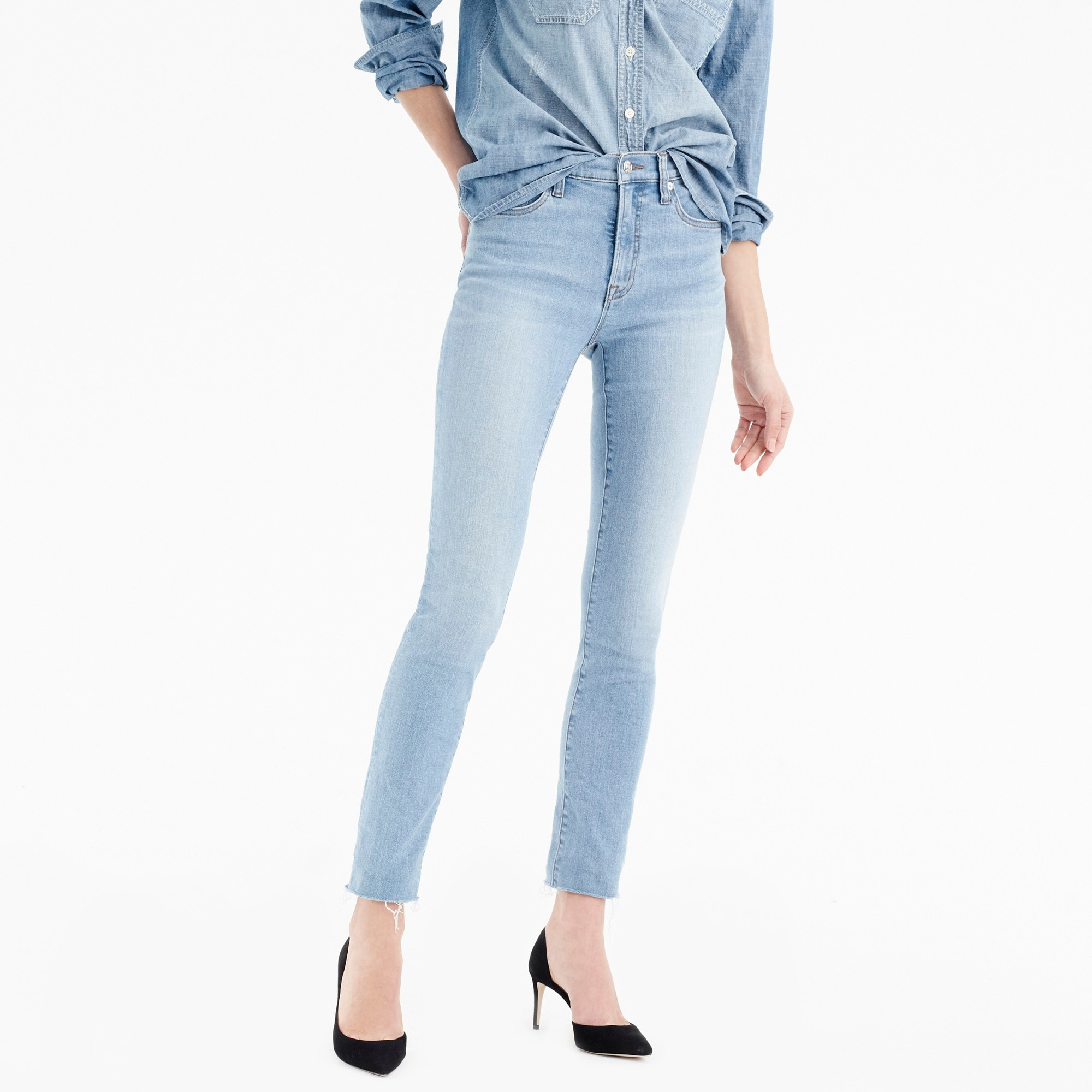 "Image 1 for Tall 9"" high-rise toothpick jean in wilkerson wash"
