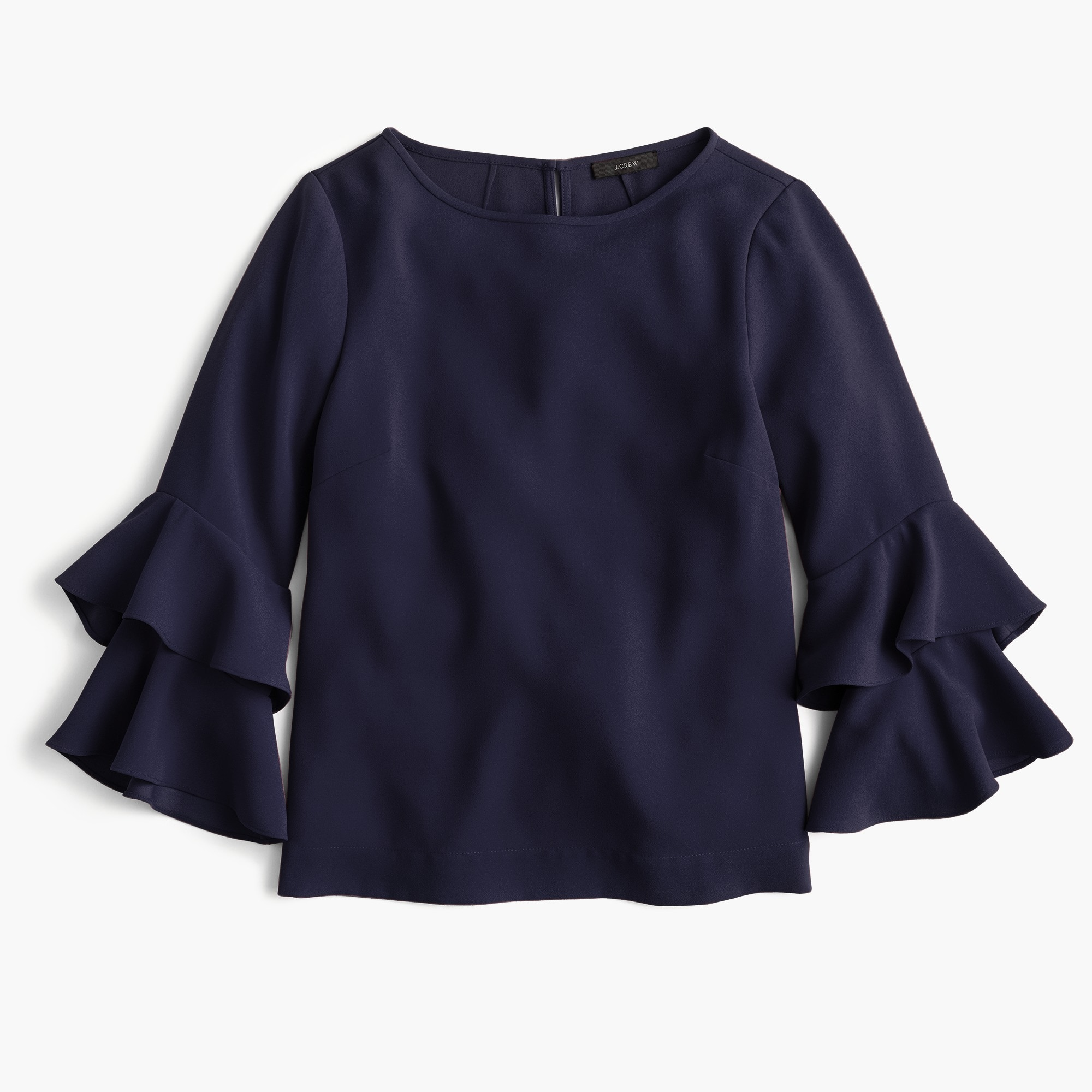 women's tall tiered bell-sleeve top in drapey crepe - women's shirts