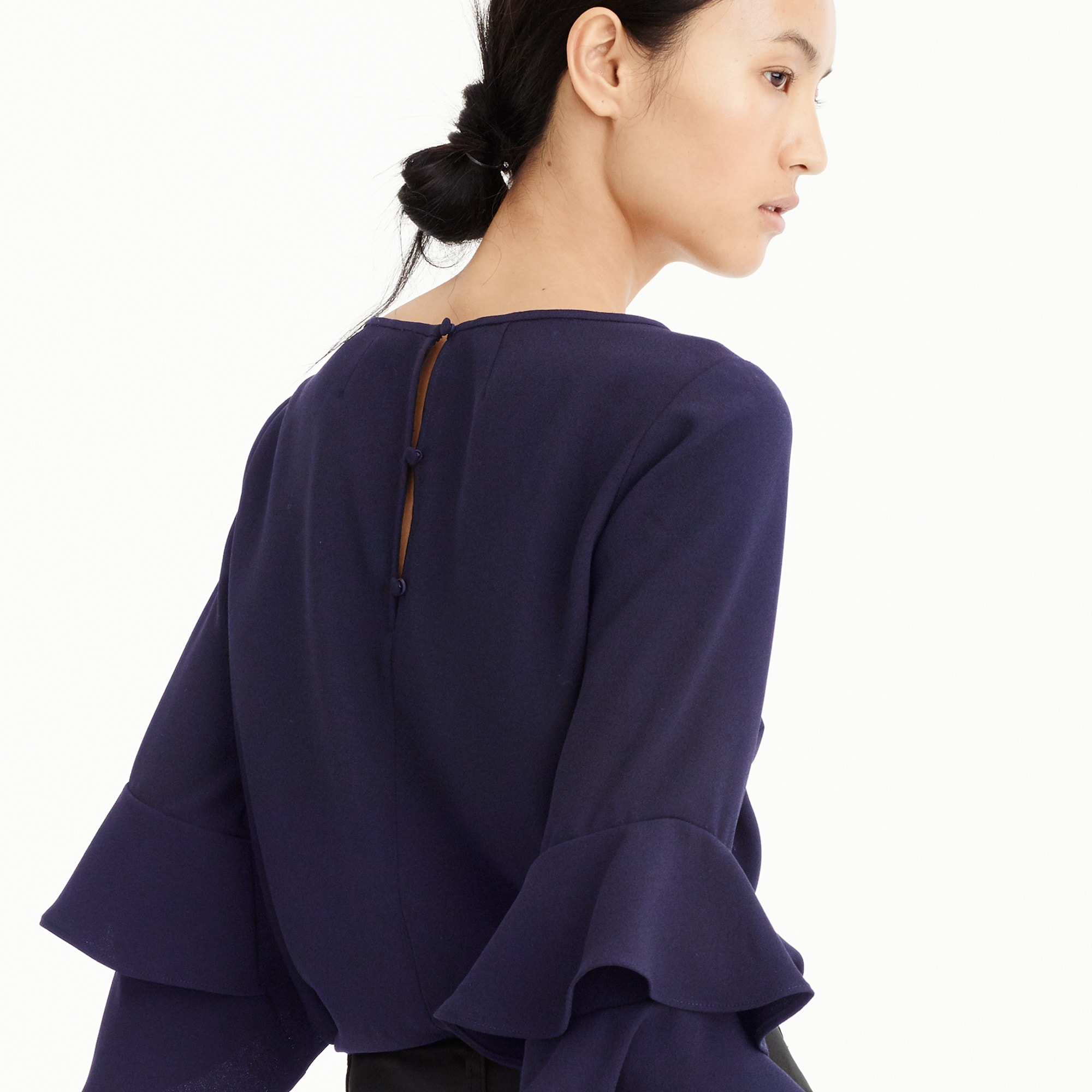 Image 3 for Petite Tiered bell-sleeve top in drapey crepe