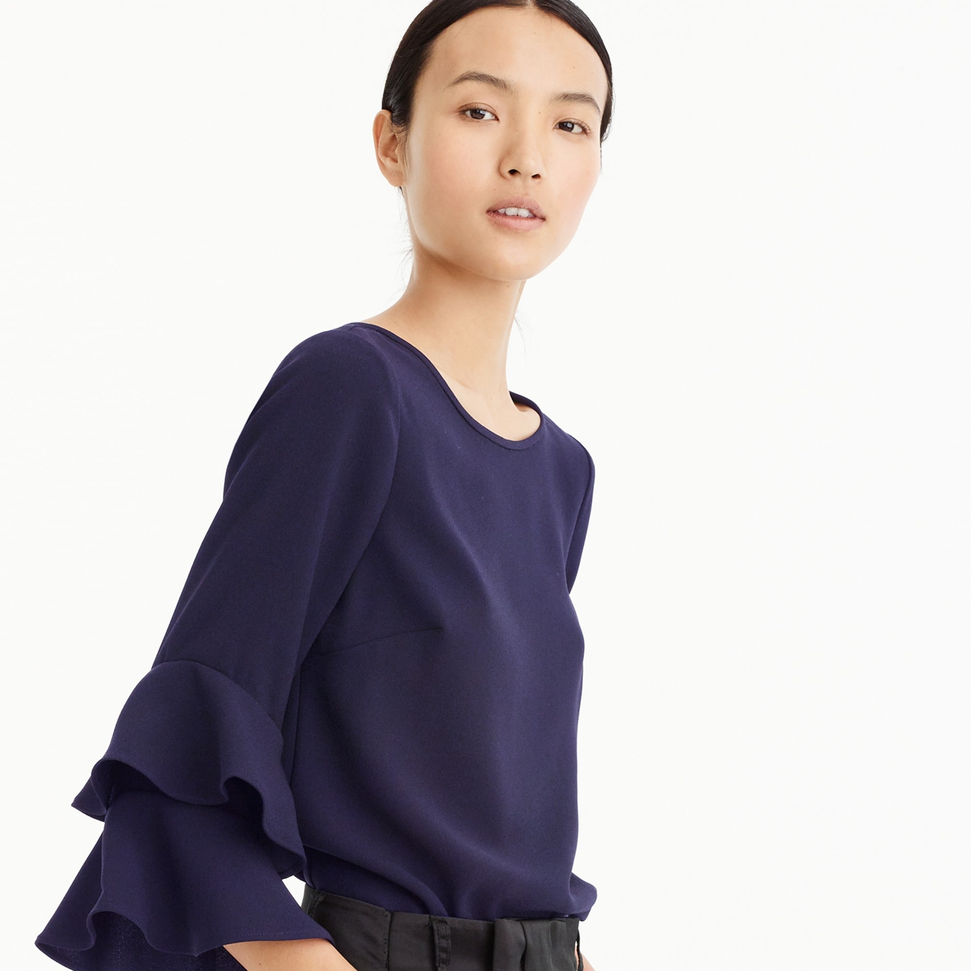 Tiered bell-sleeve top in drapey crepe