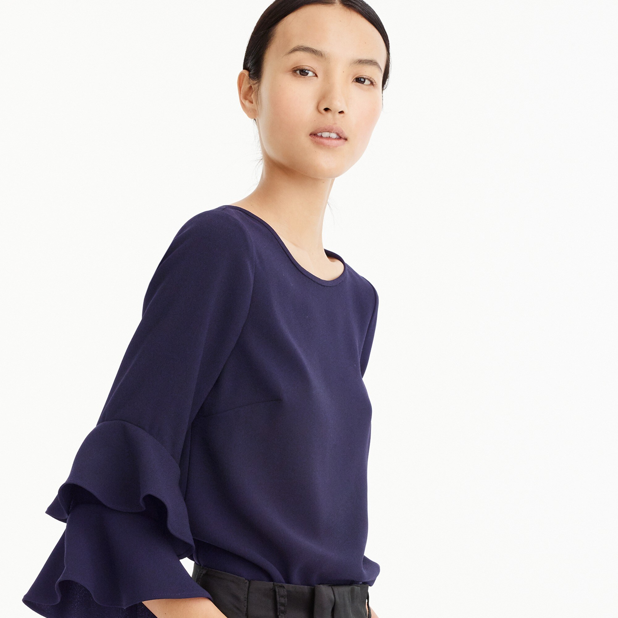Tiered bell-sleeve top in drapey crepe women shirts & tops c