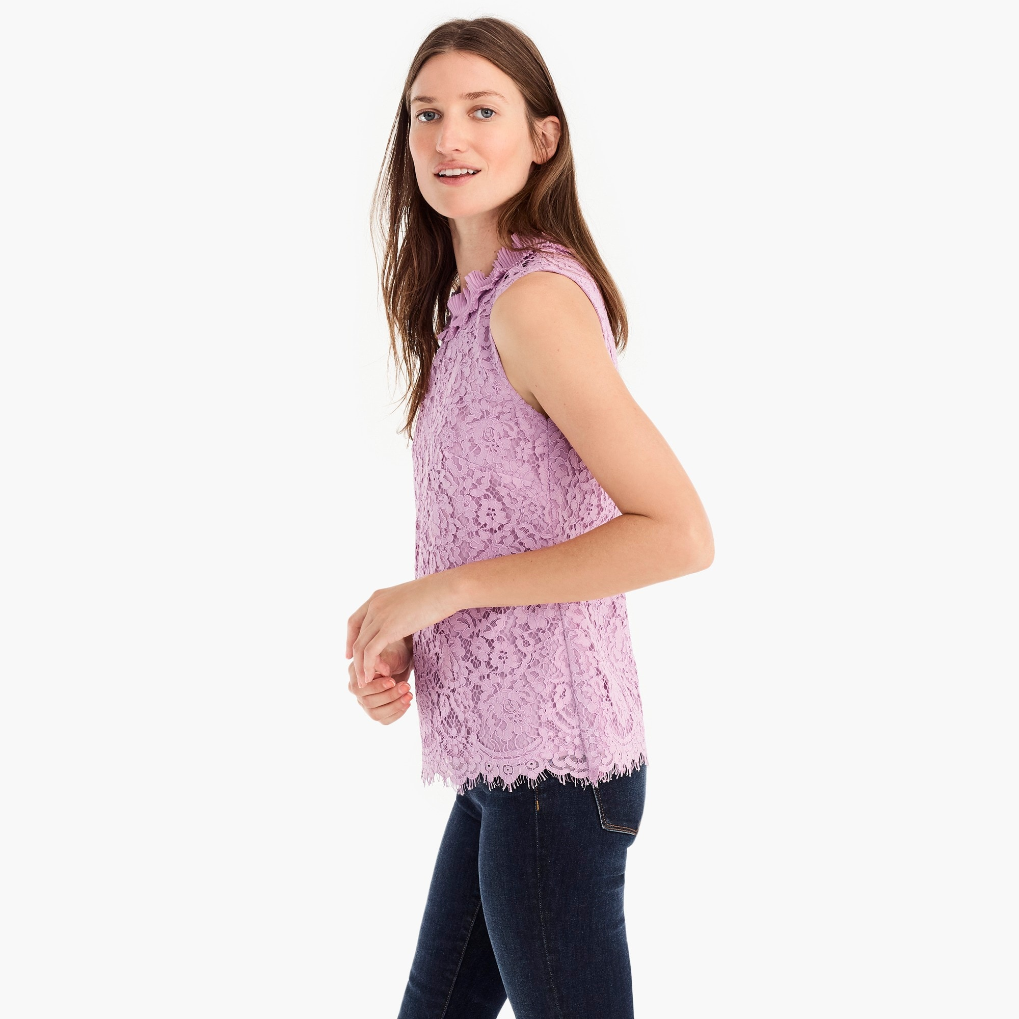 Tall lace ruffle-neck top